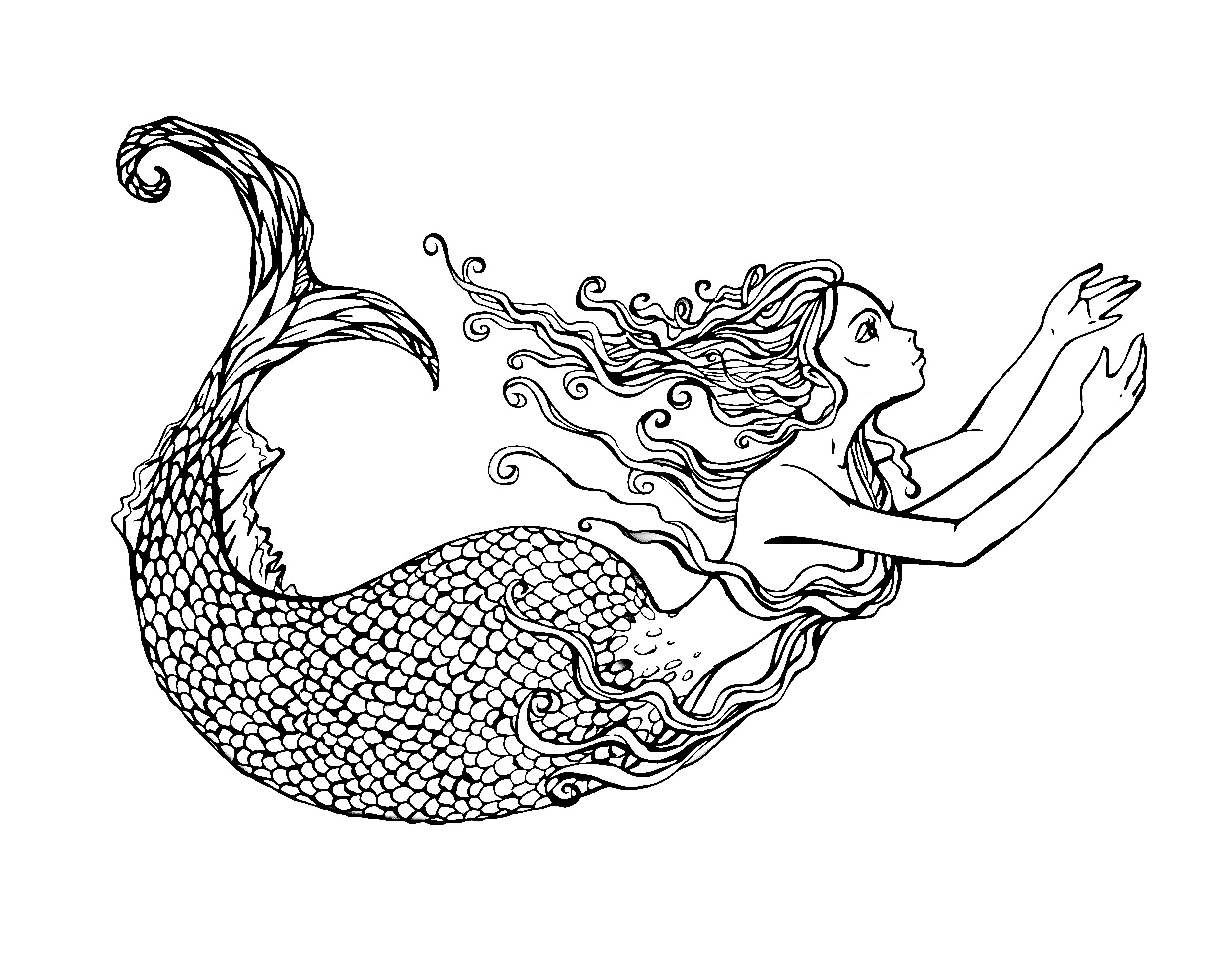 Swimming mermaid, exclusive coloring page, by Lian2011