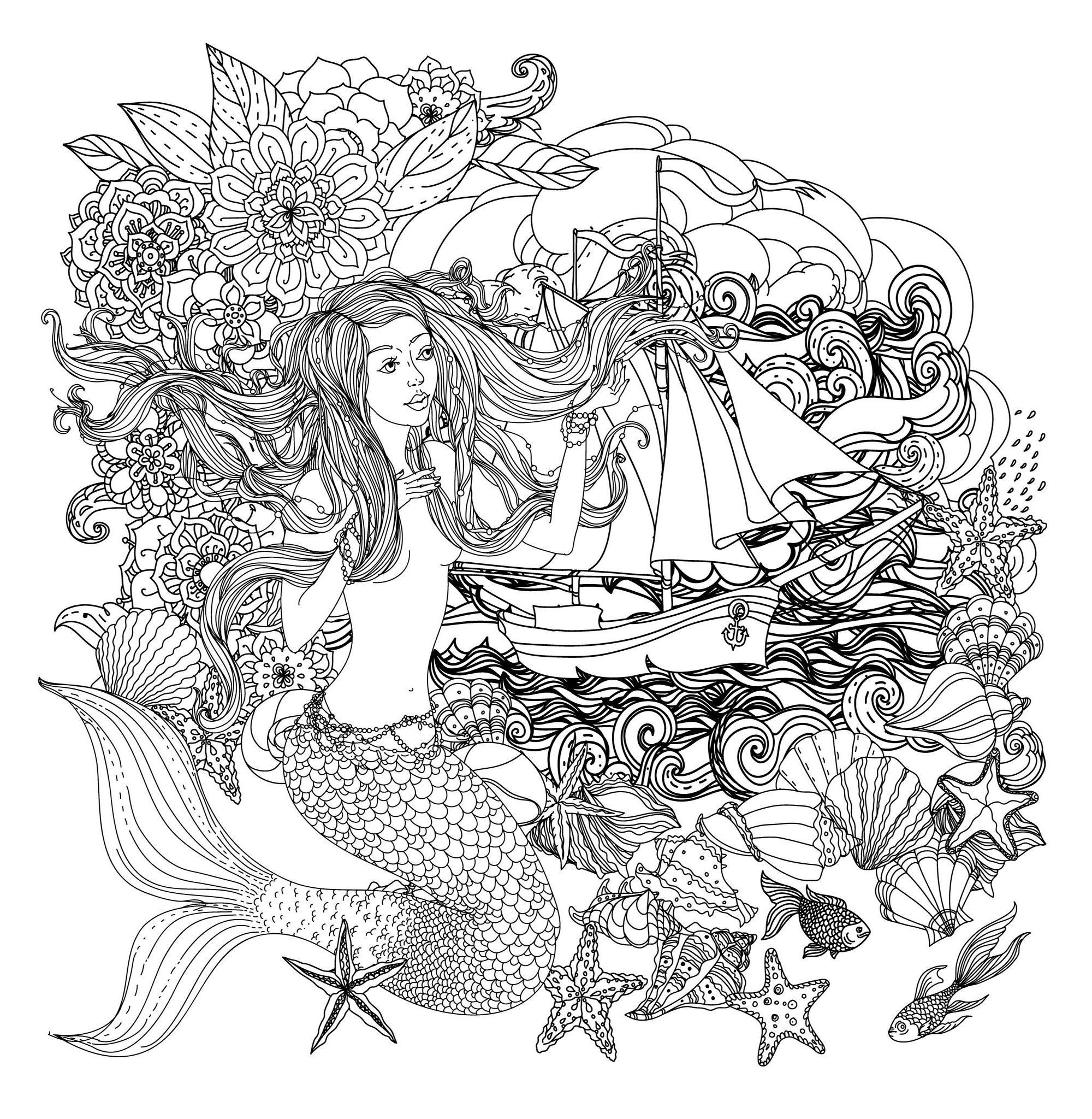 Coloring mermaid and boat