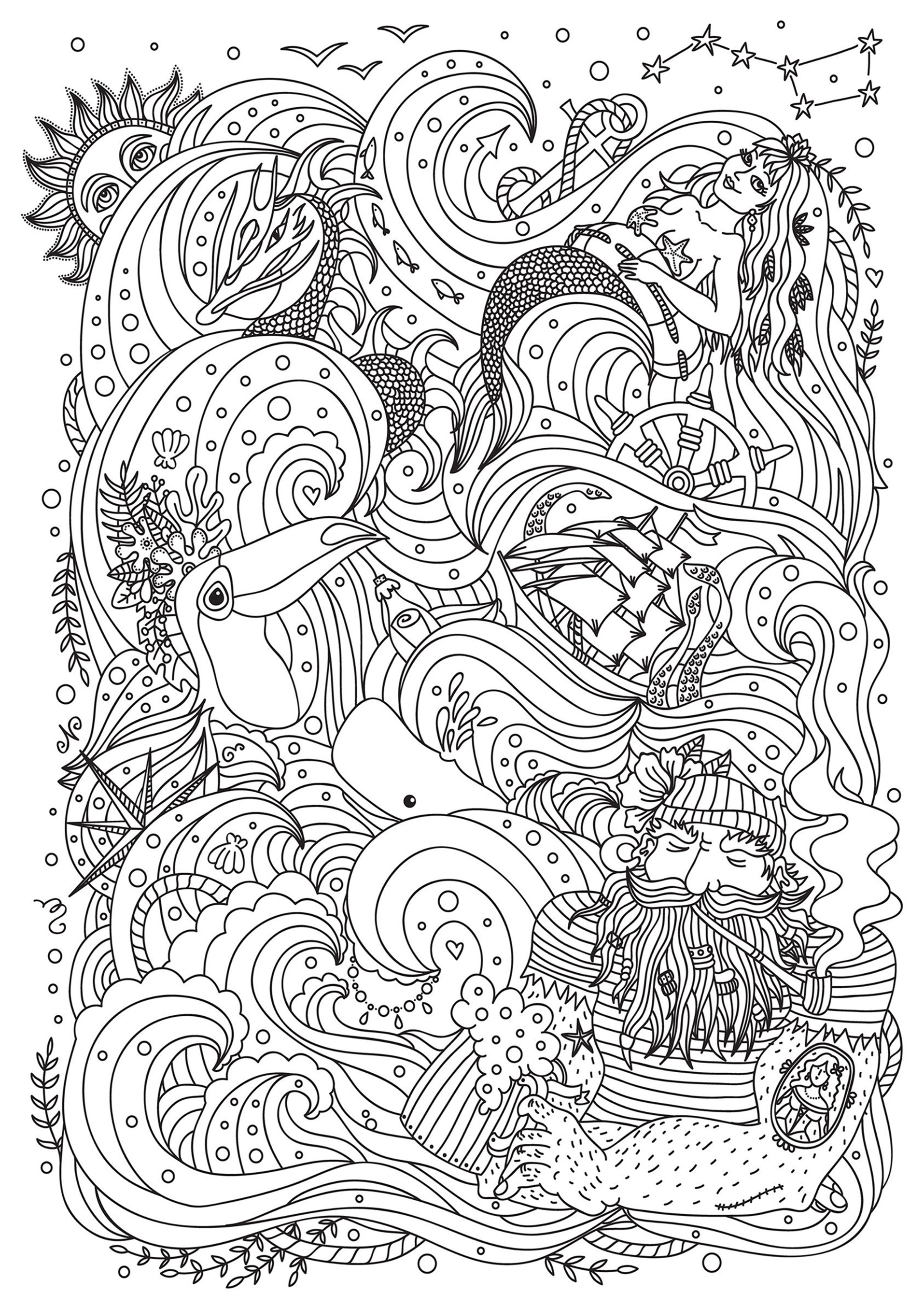 Mermaid Sailor Bird And Boat Mermaids Adult Coloring Pages