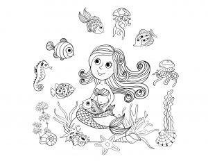 Coloring adult mermaid and fishes by amalga
