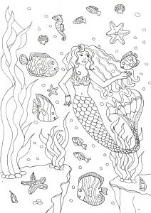 Coloring adult mermaid and fishes by olivier