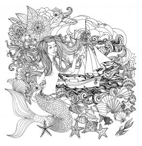 Coloring mermaid and boat
