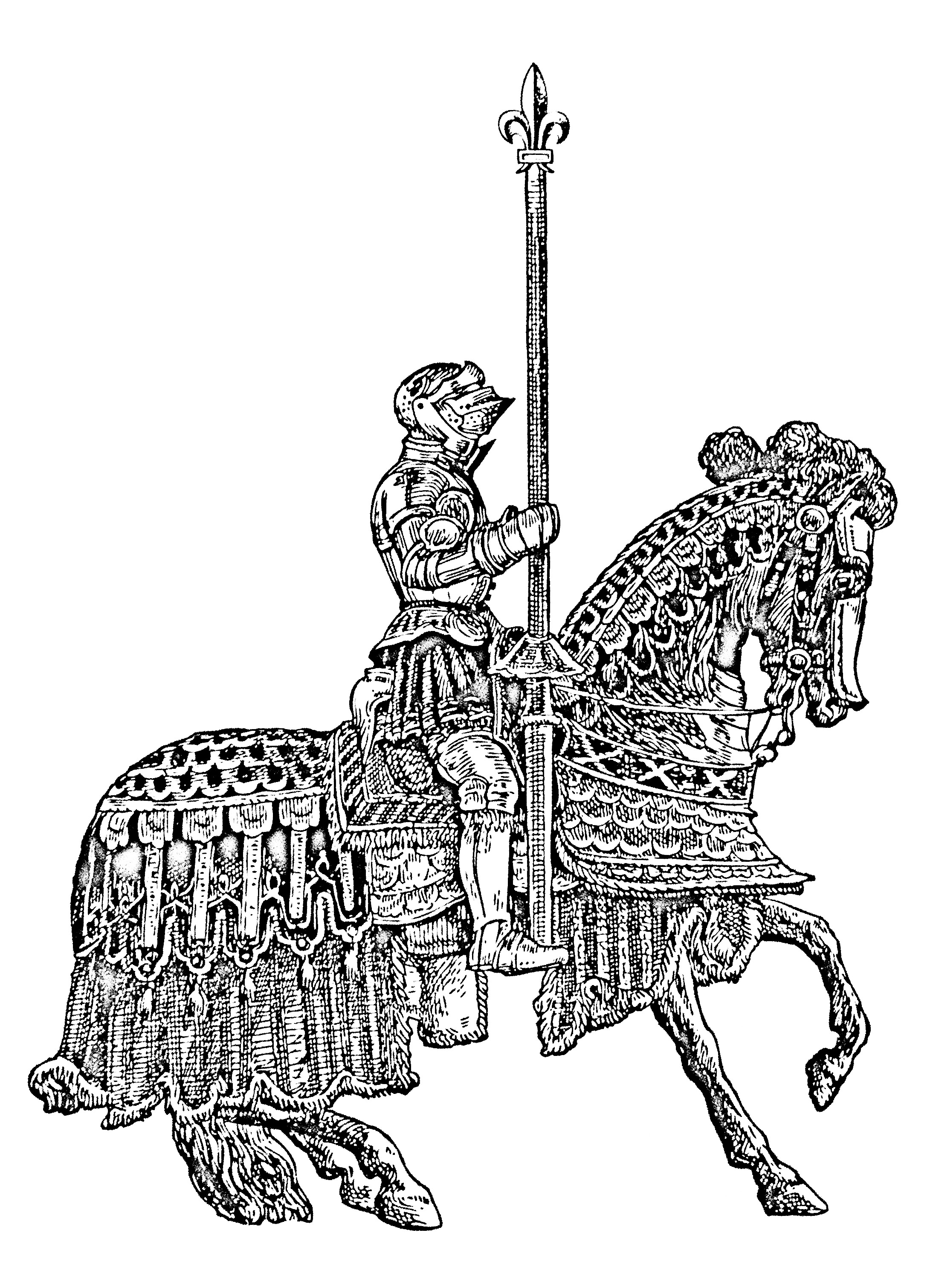 Coloring pictures for adults - Coloring Adult Knight Middle Age On Horse Free To Print