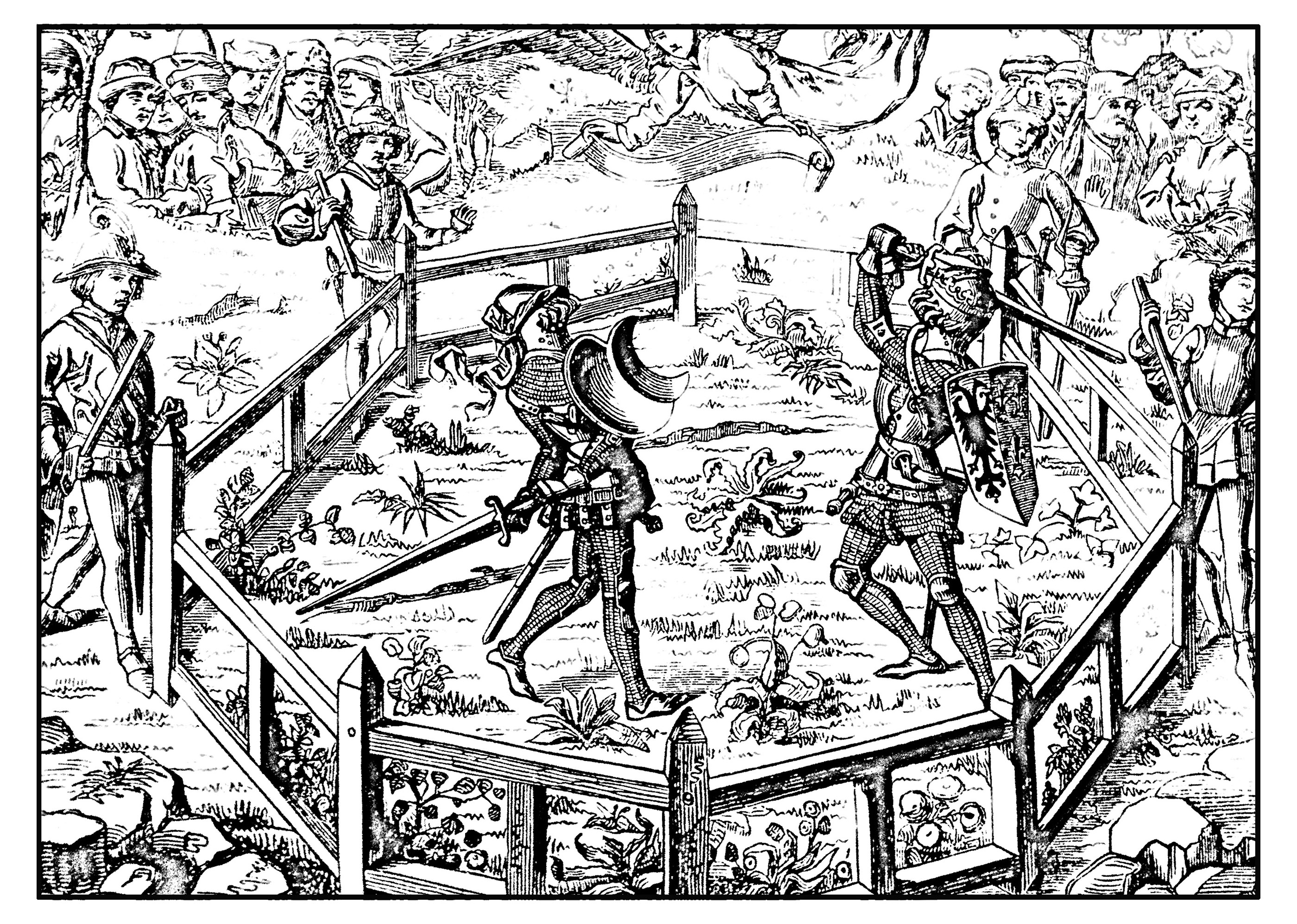 Middle Age Tournament Middle Ages Adult Coloring Pages