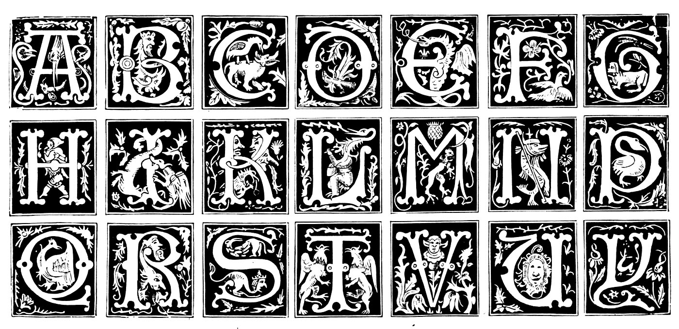 Alphabet letters represented in the Middle Ages, with varying patterns, styles and inspiration : plants, people (theater), animals, etc ...