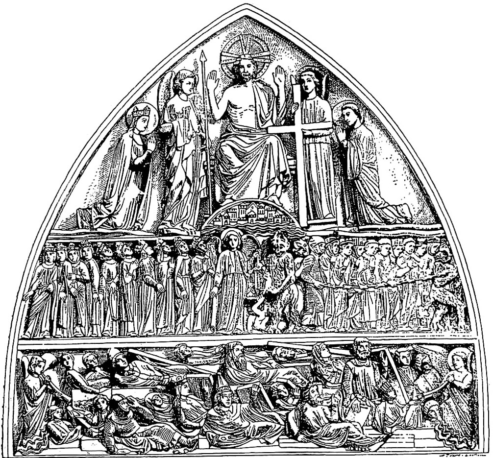Etching of the pediment of a church, with many religious figures distributed smoothly