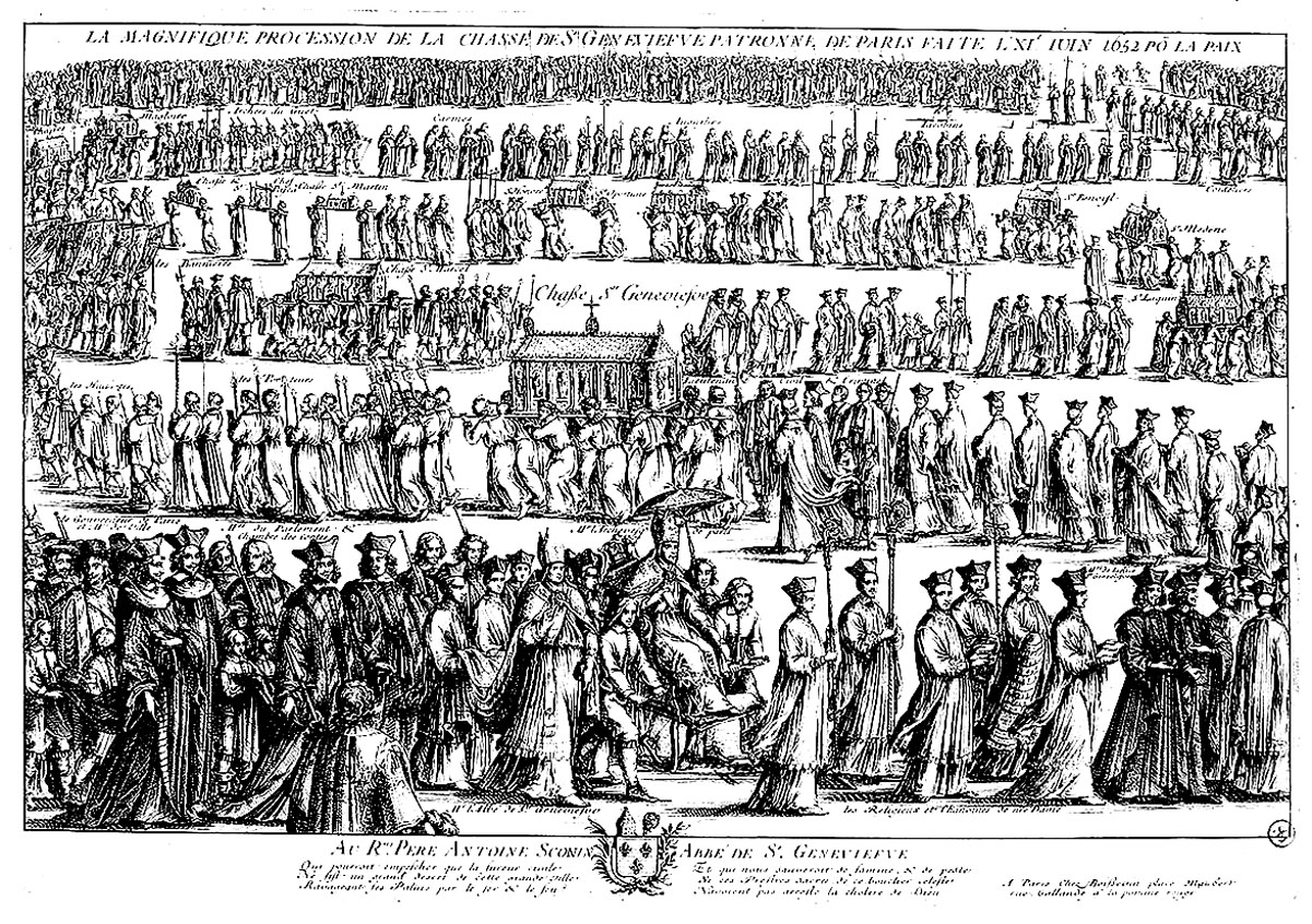 Etching an impressive religious procession, many characters to color !