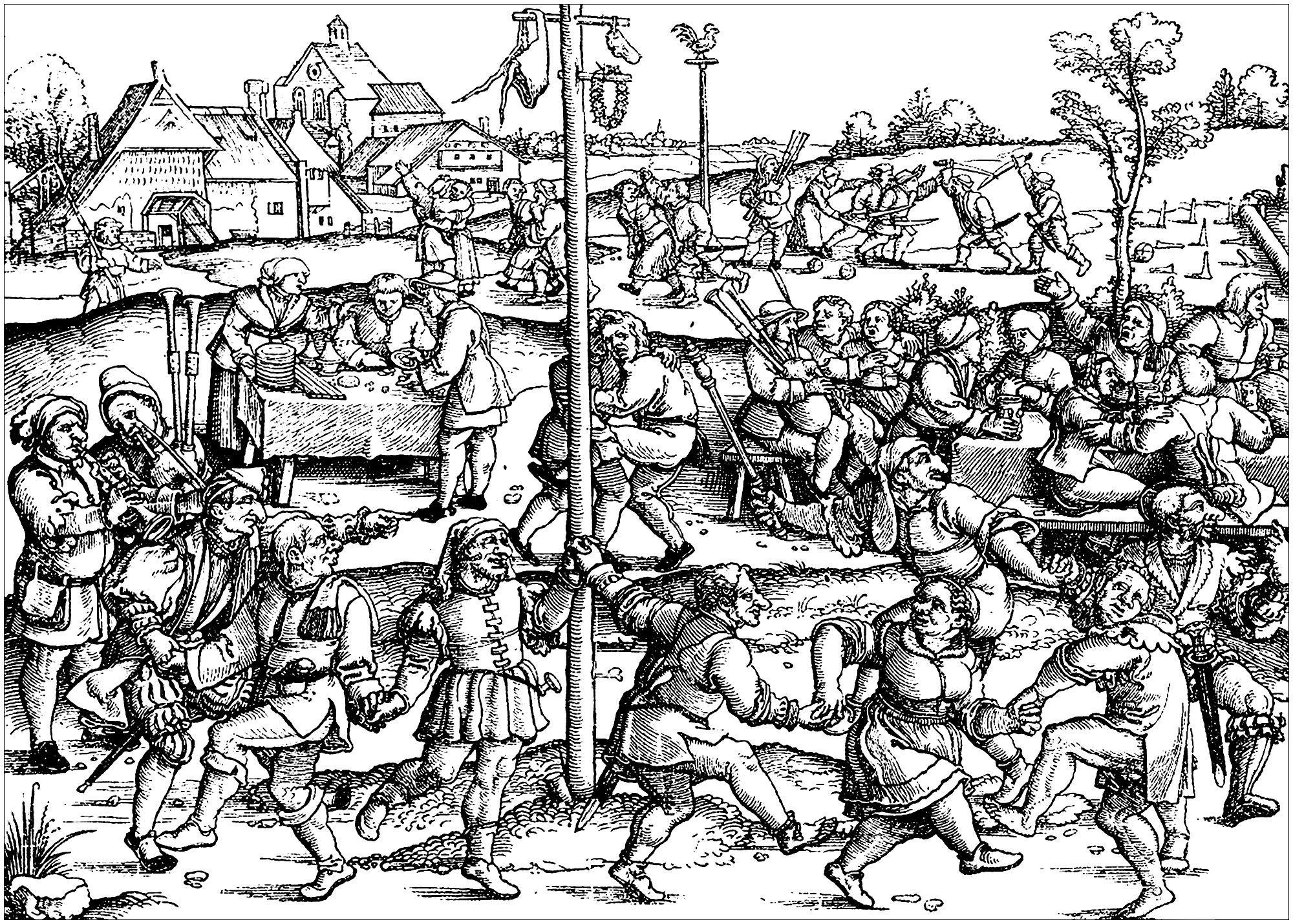 Middle ages peasants celebrating (from a vintage illustration)