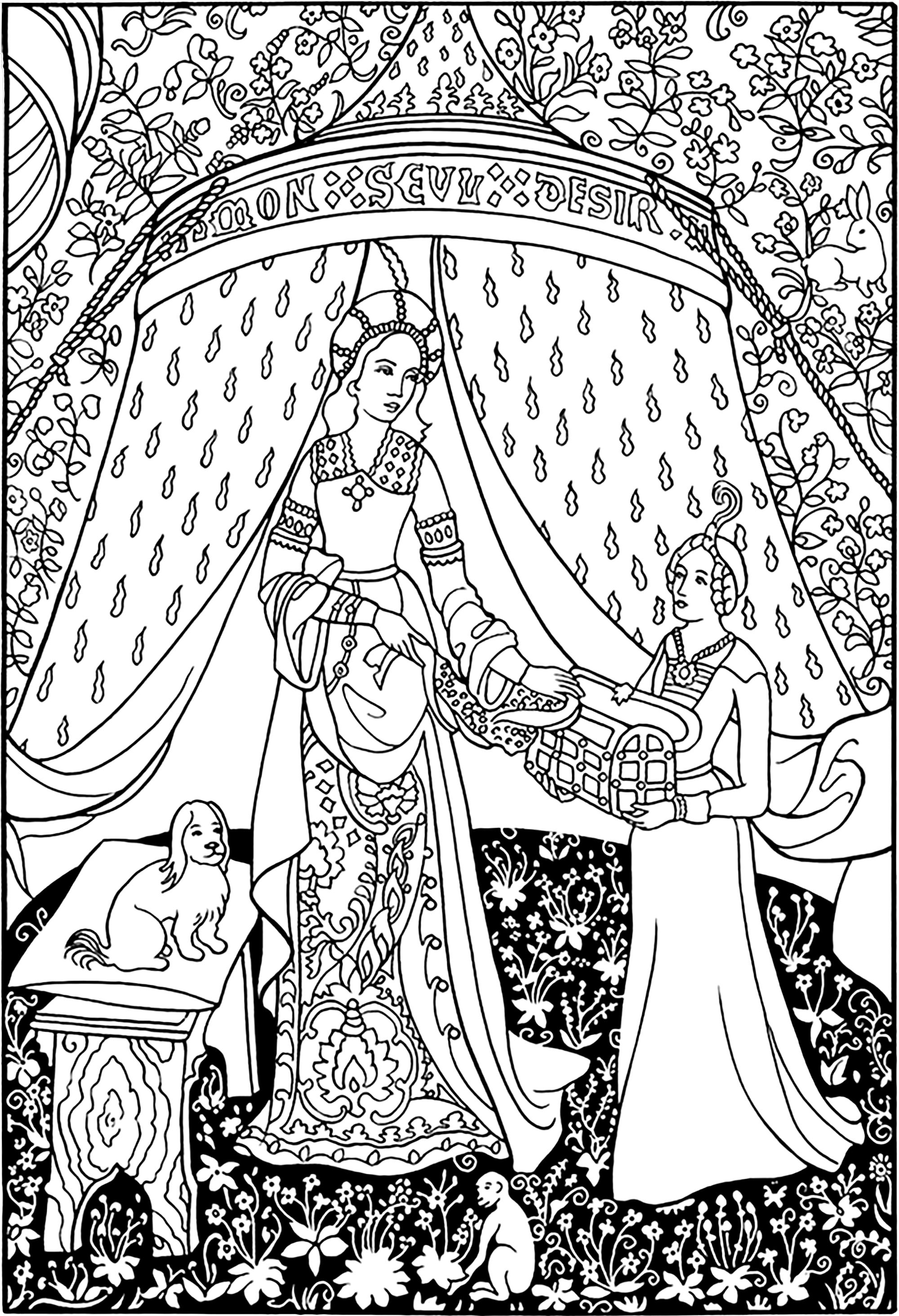 Coloring page created from a detail of the tapestry the lady with the unicorn