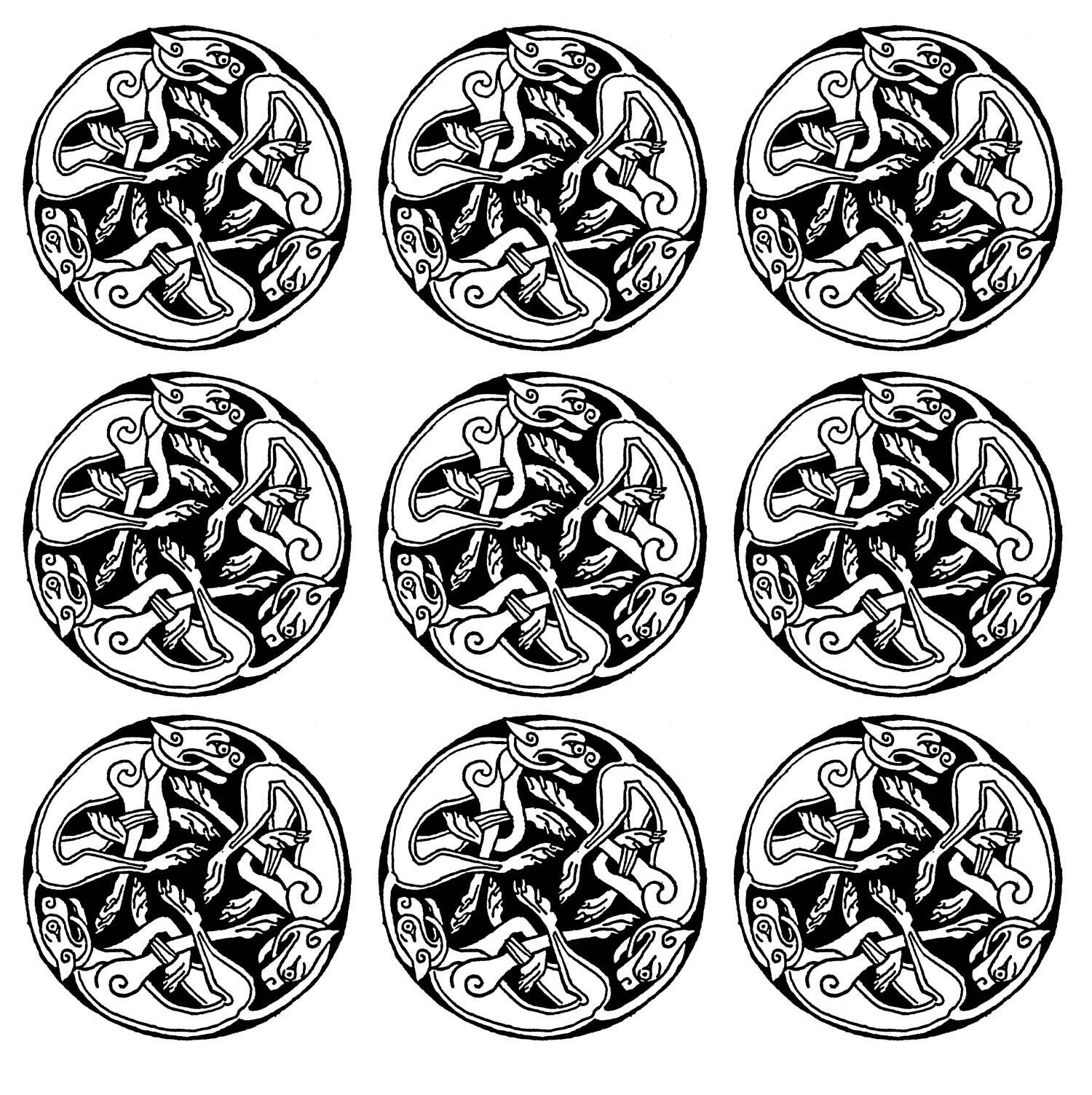 9 repeated patterns representing gargoyles ... A kind of Mandala of the Middle Ages quite intriguing