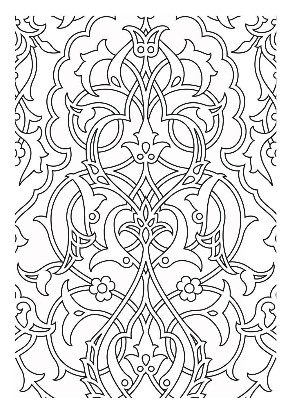 Medieval tapestry pattern, which can serve as an inspiration or for a simple coloring