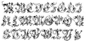 Coloring alphabet moyen age