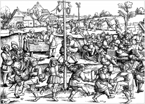 coloring page middle ages peasants celebrating