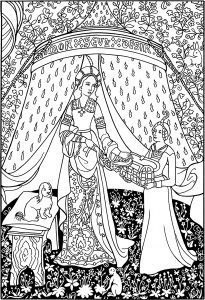 Coloring page the lady with the unicorn tapestry