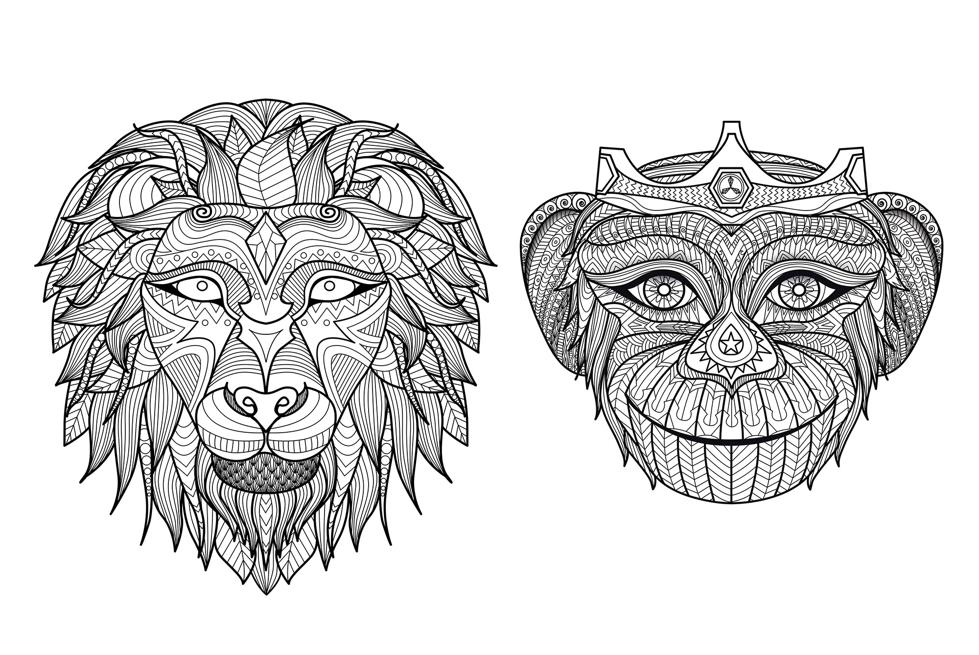 Heads Monkey Lion Monkeys Adult Coloring Pages