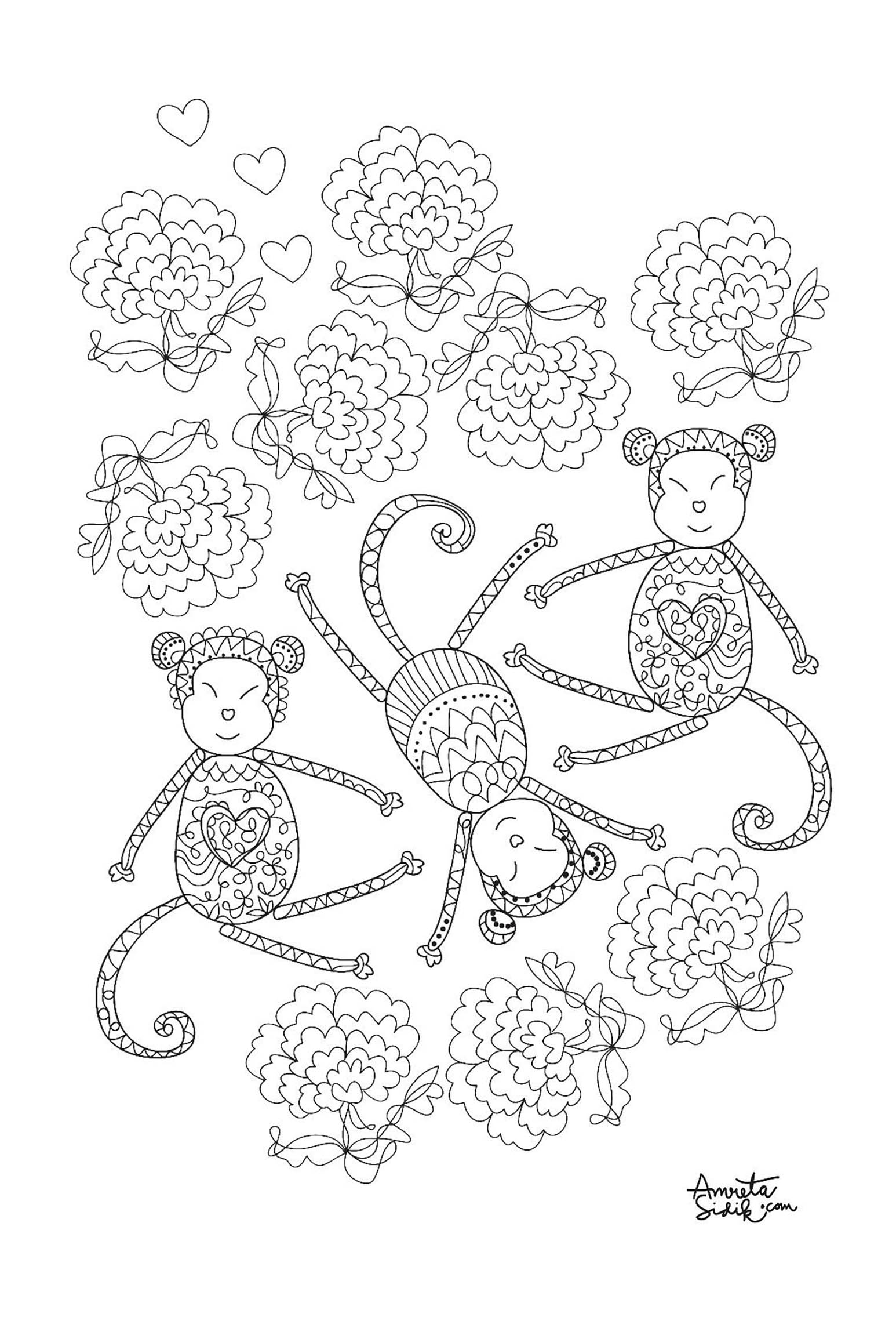 Monkey 3 Monkeys Adult Coloring