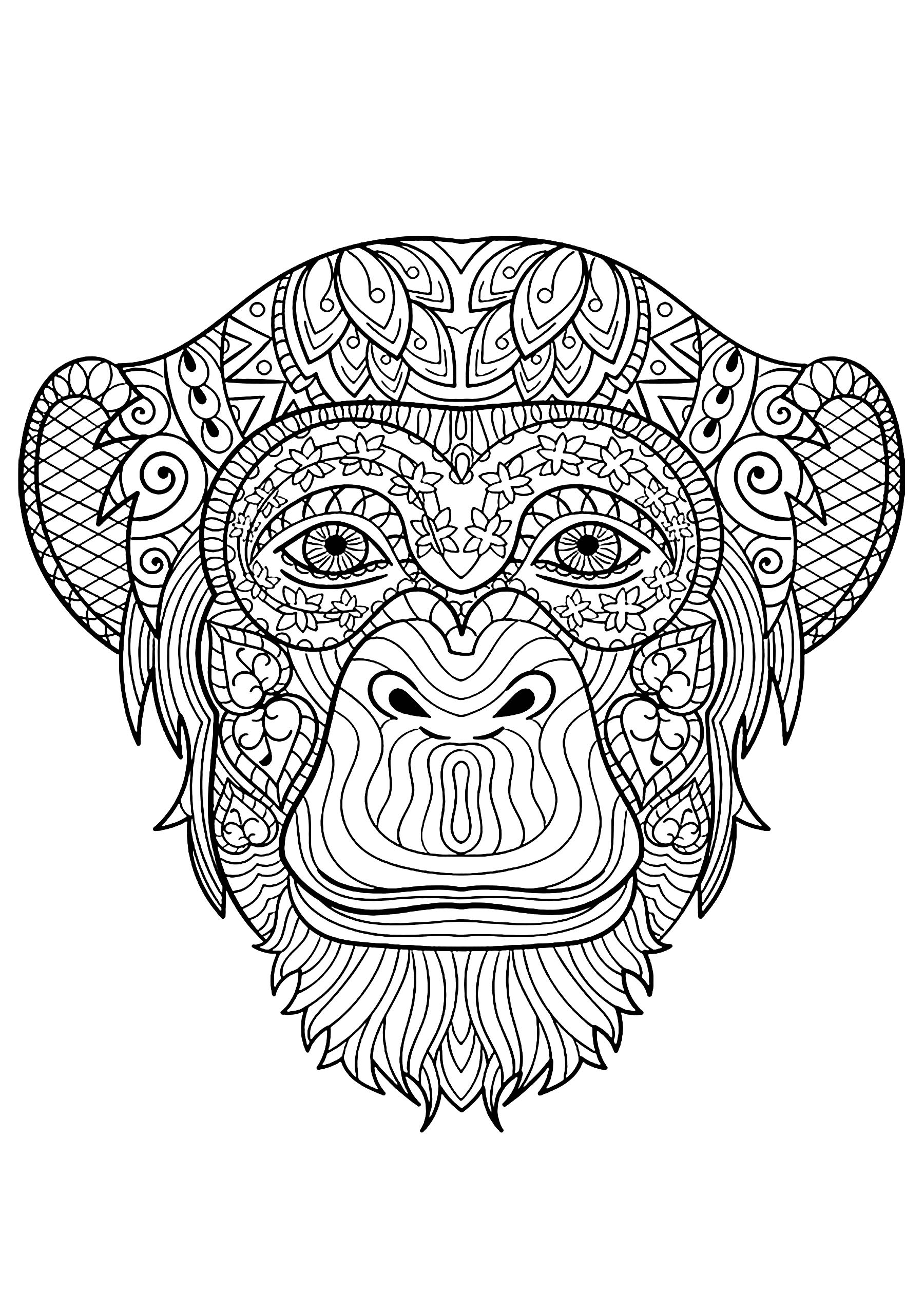 Beautiful monkey head to color, with beautiful patterns