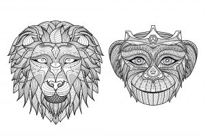 Coloring adult heads monkey lion