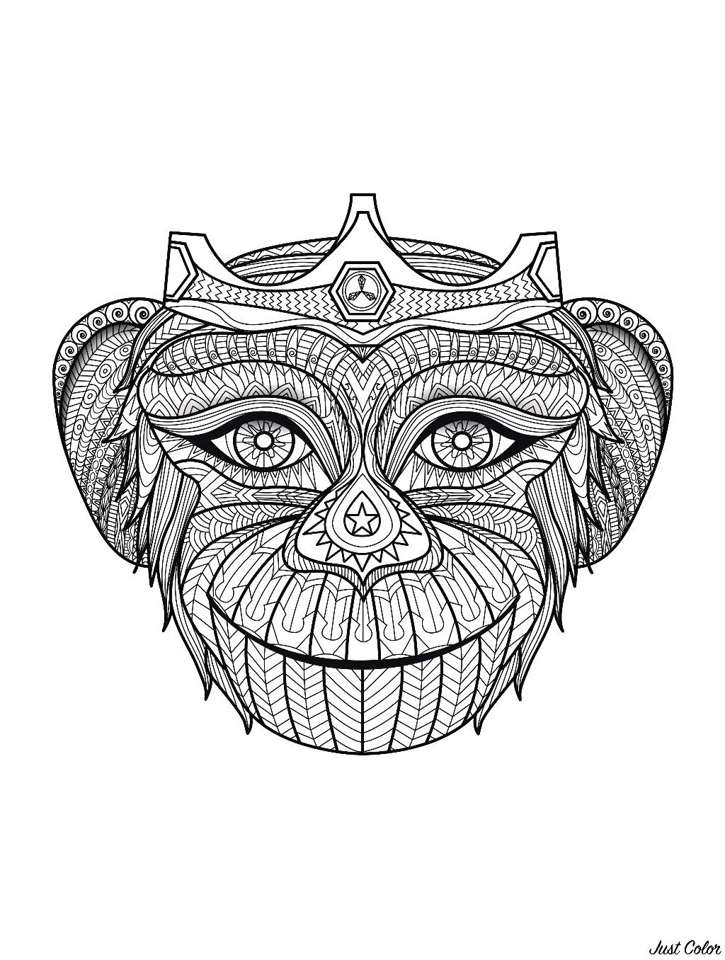 Crowned monkey's head