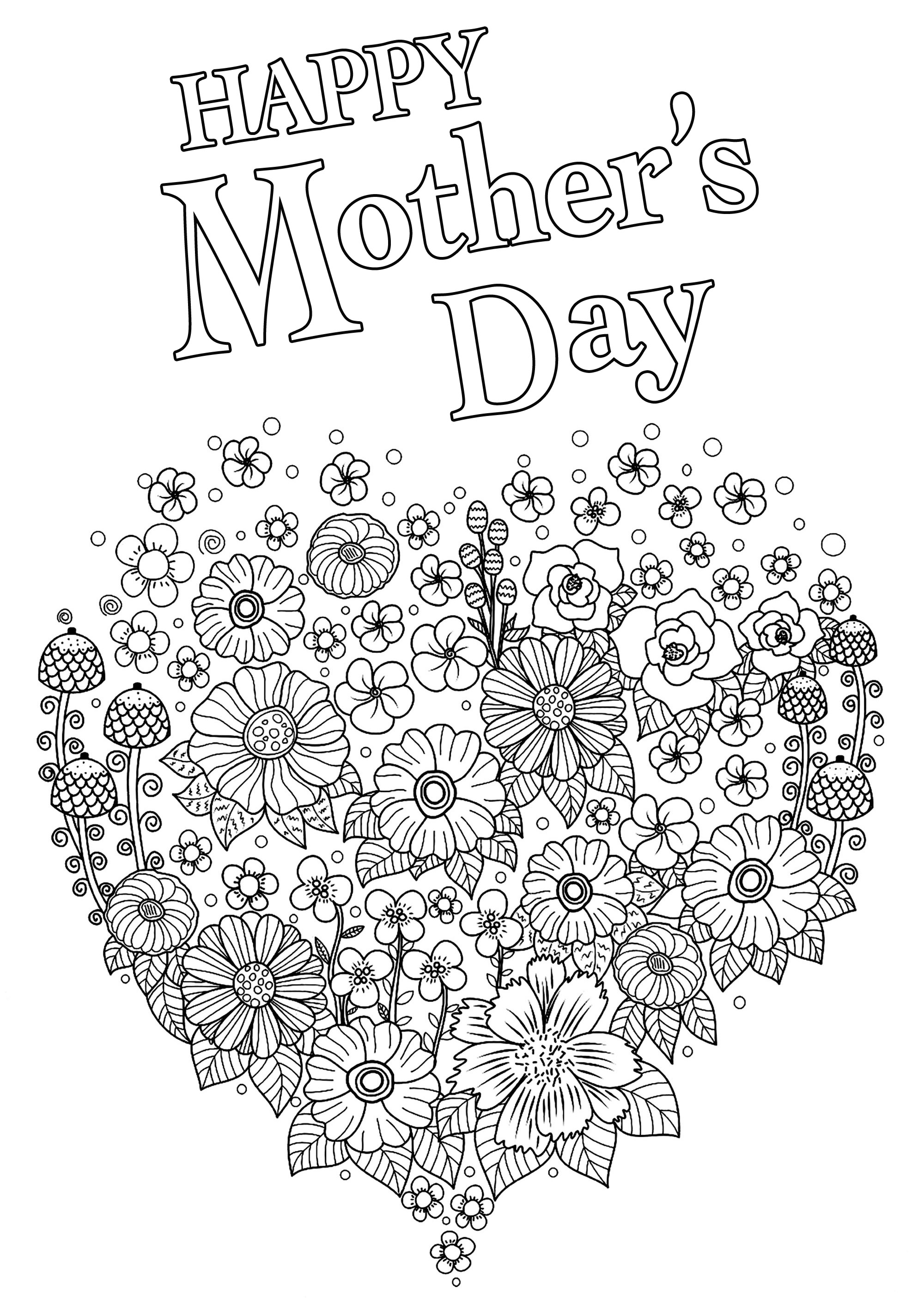 Happy Mother's day coloring page : Heart full of various flowers