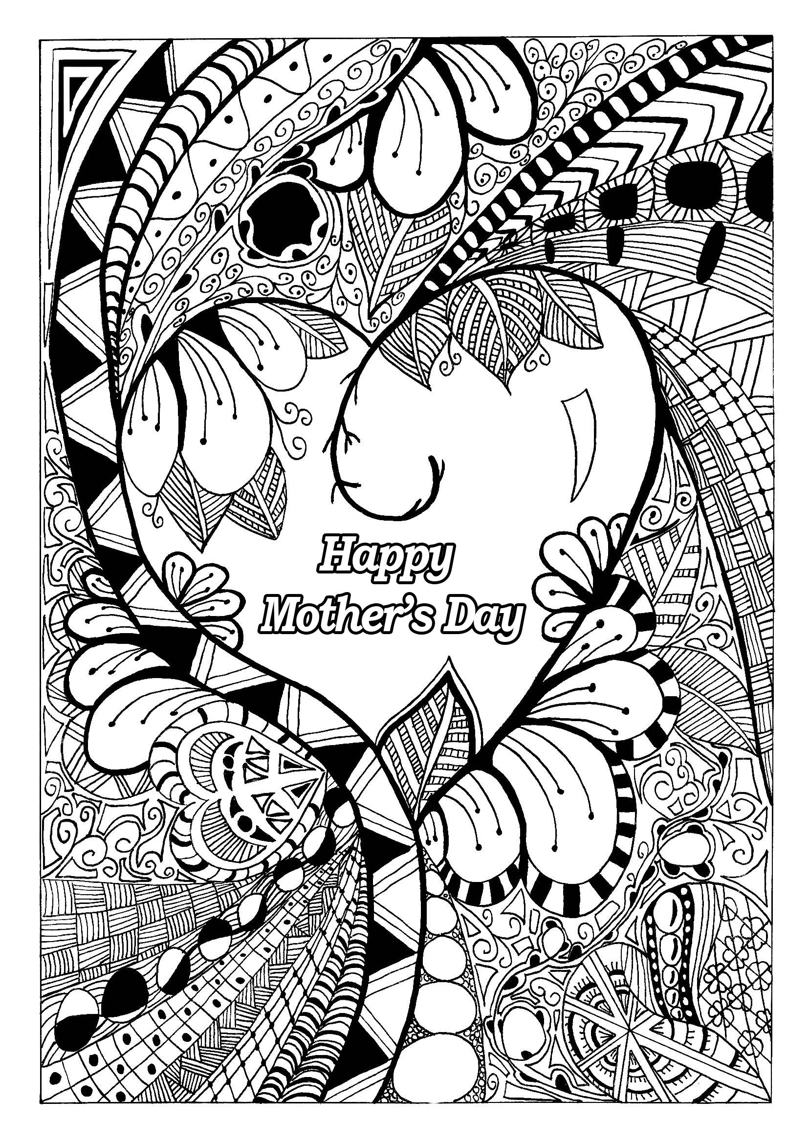 Mothers Day Coloring Page With Zentangle Patterns
