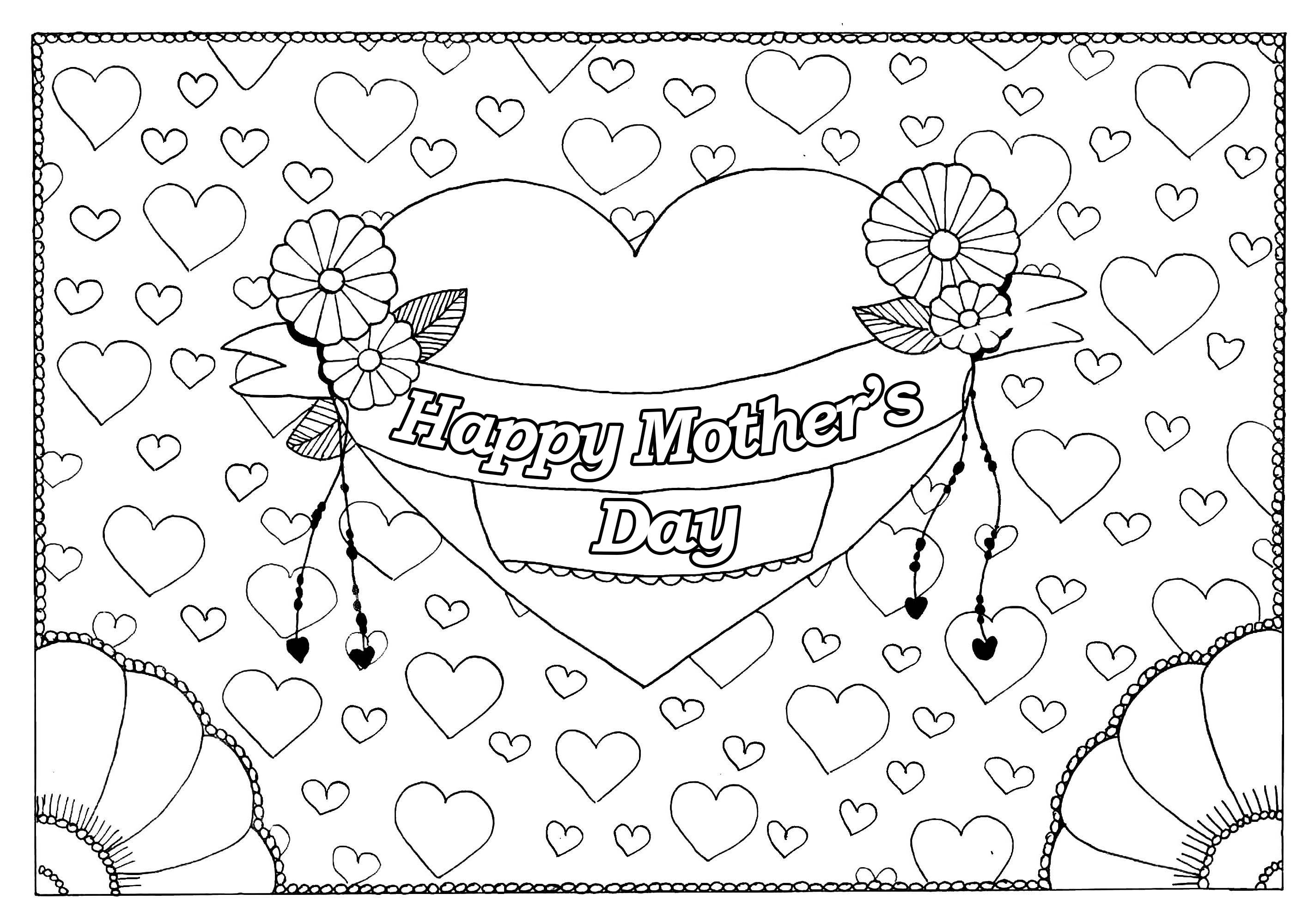 Mother's day coloring page : Big & little hearts