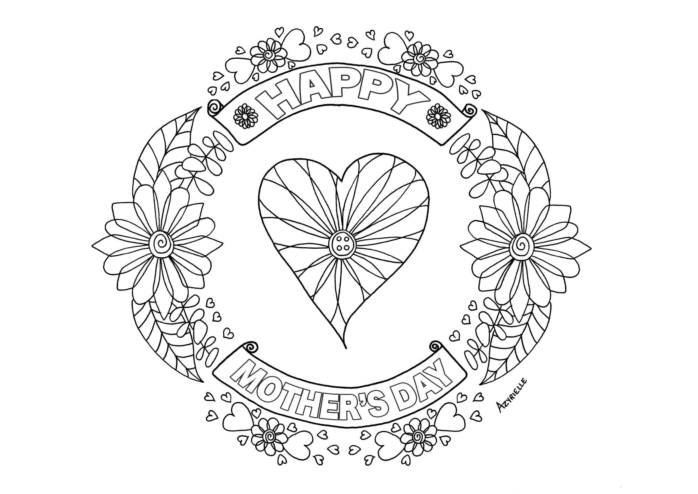 Happy Mother's day coloring page : heart and flowered patterns