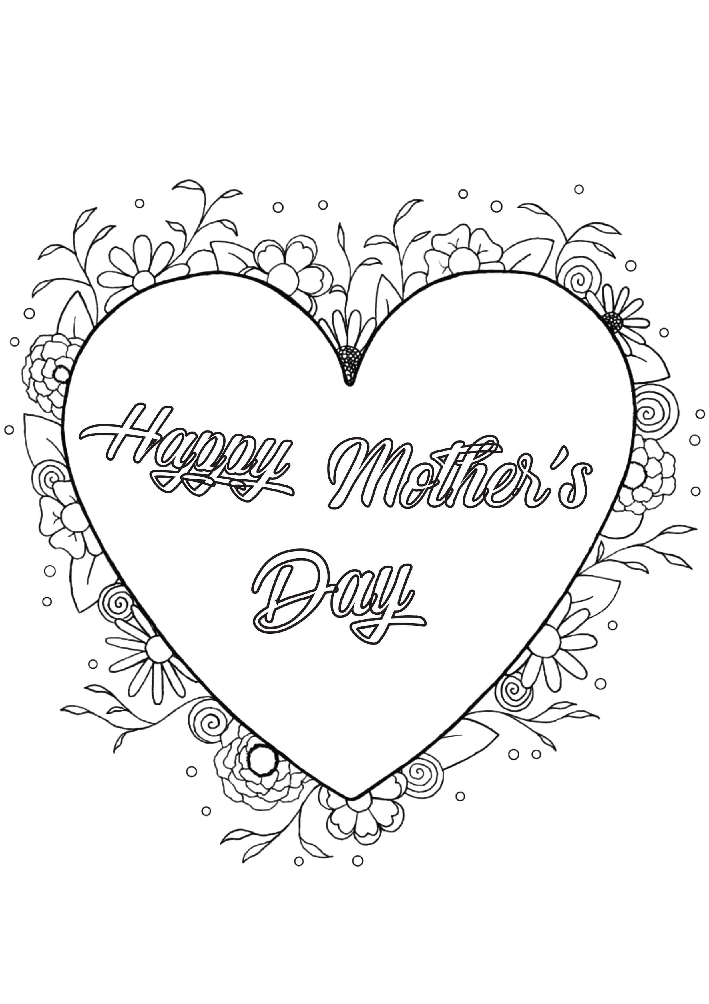 Coloring Page Mother S Day By Louise A Heart With Beautiful Patterns
