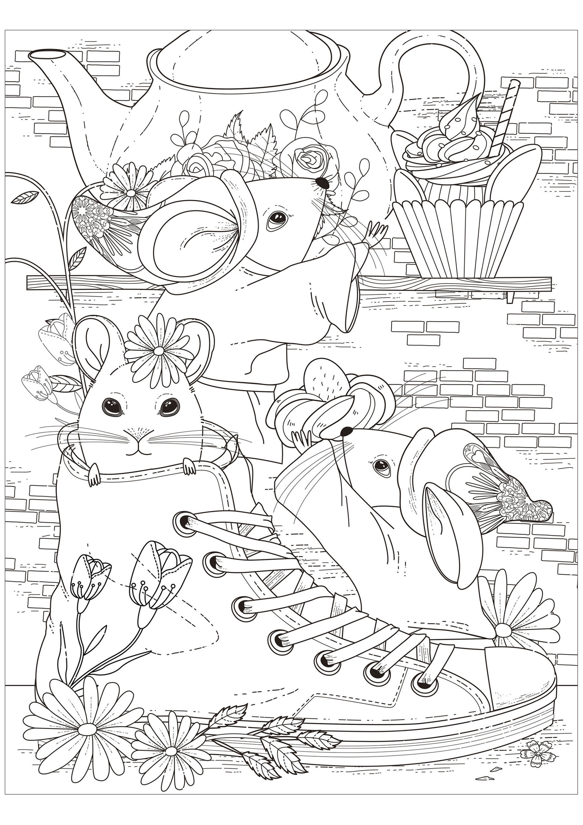 The tea party of the three mice - Mouses Adult Coloring Pages