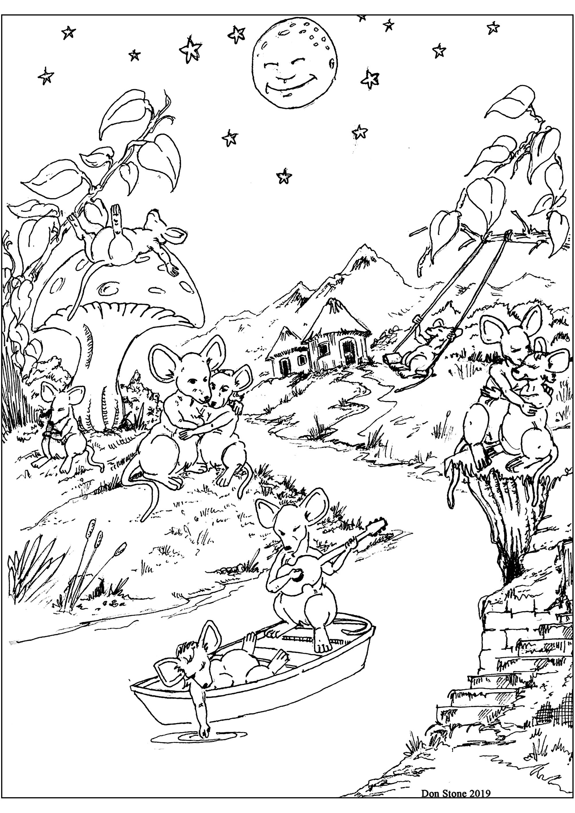 Original drawing of a pretty river with mice in a boat, on the banks, and on a mushroom