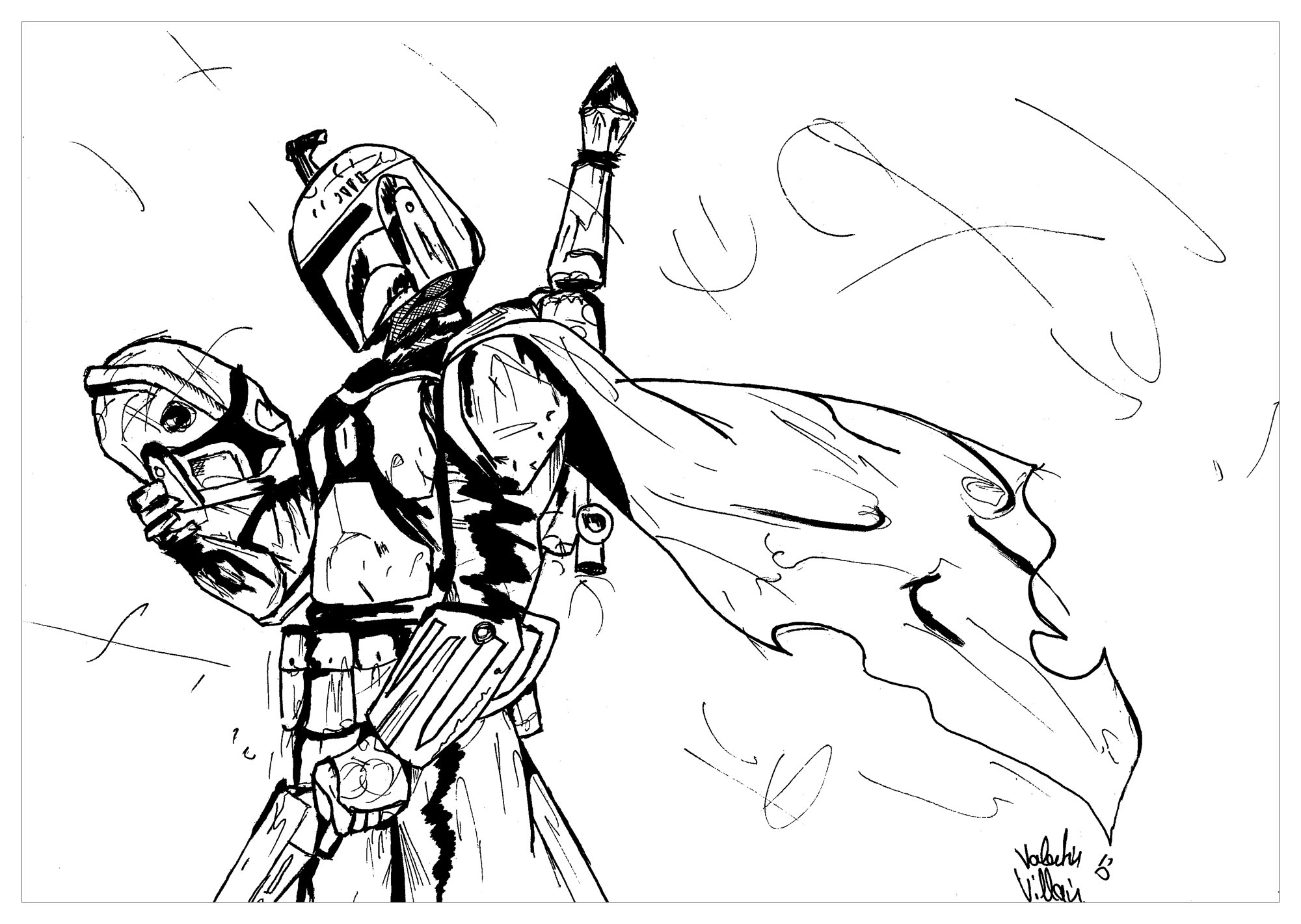 Coloring page star wars boba fett