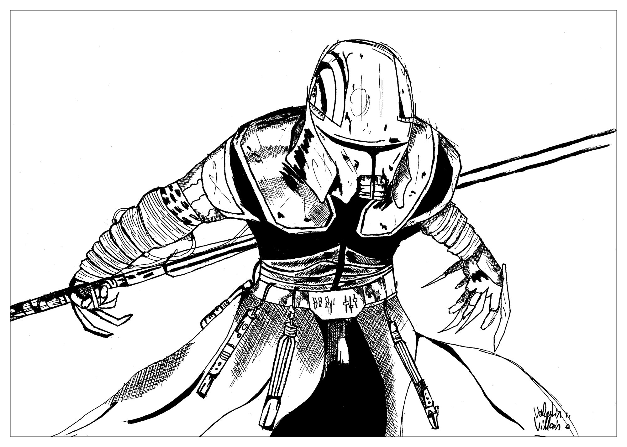 Coloring page of a Sith inspired by the famous Star Wars Saga