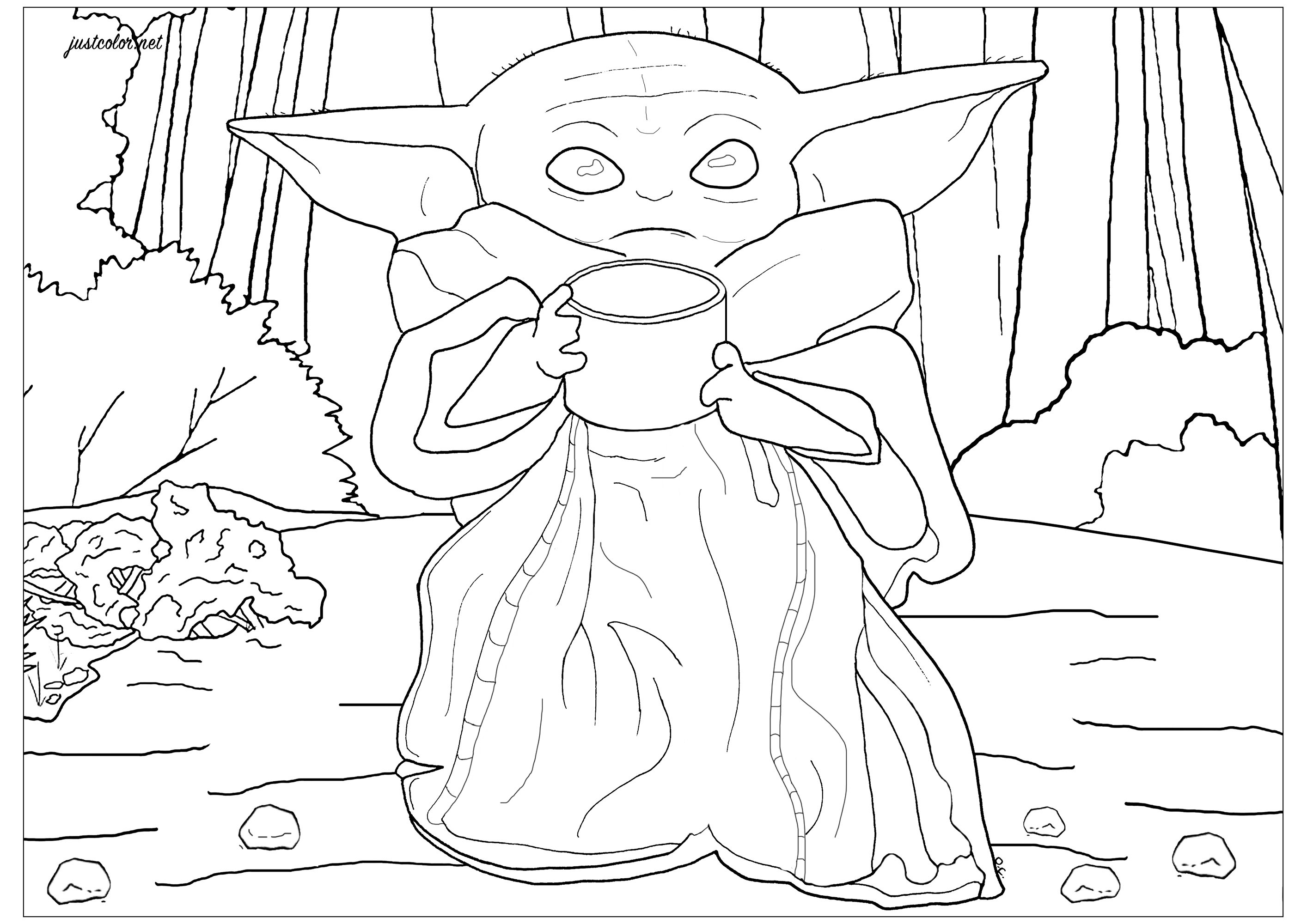 Coloring page of Baby Yoda (The Child), from television series The Mandalorian (Star Wars / Disney +). This character is a member of the same alien species as Yoda, but he is younger (50 years old).