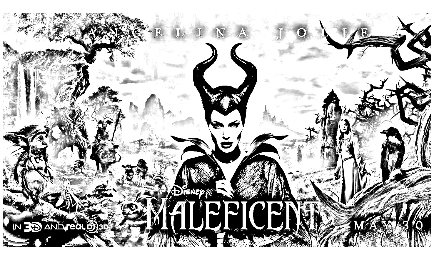 Maleficient Movie poster with all the characters