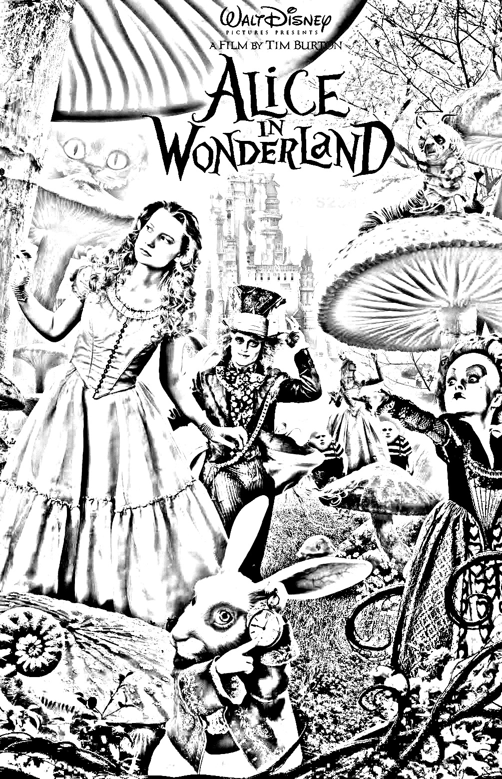 Tim burtons alice in wonderland movie poster in black white