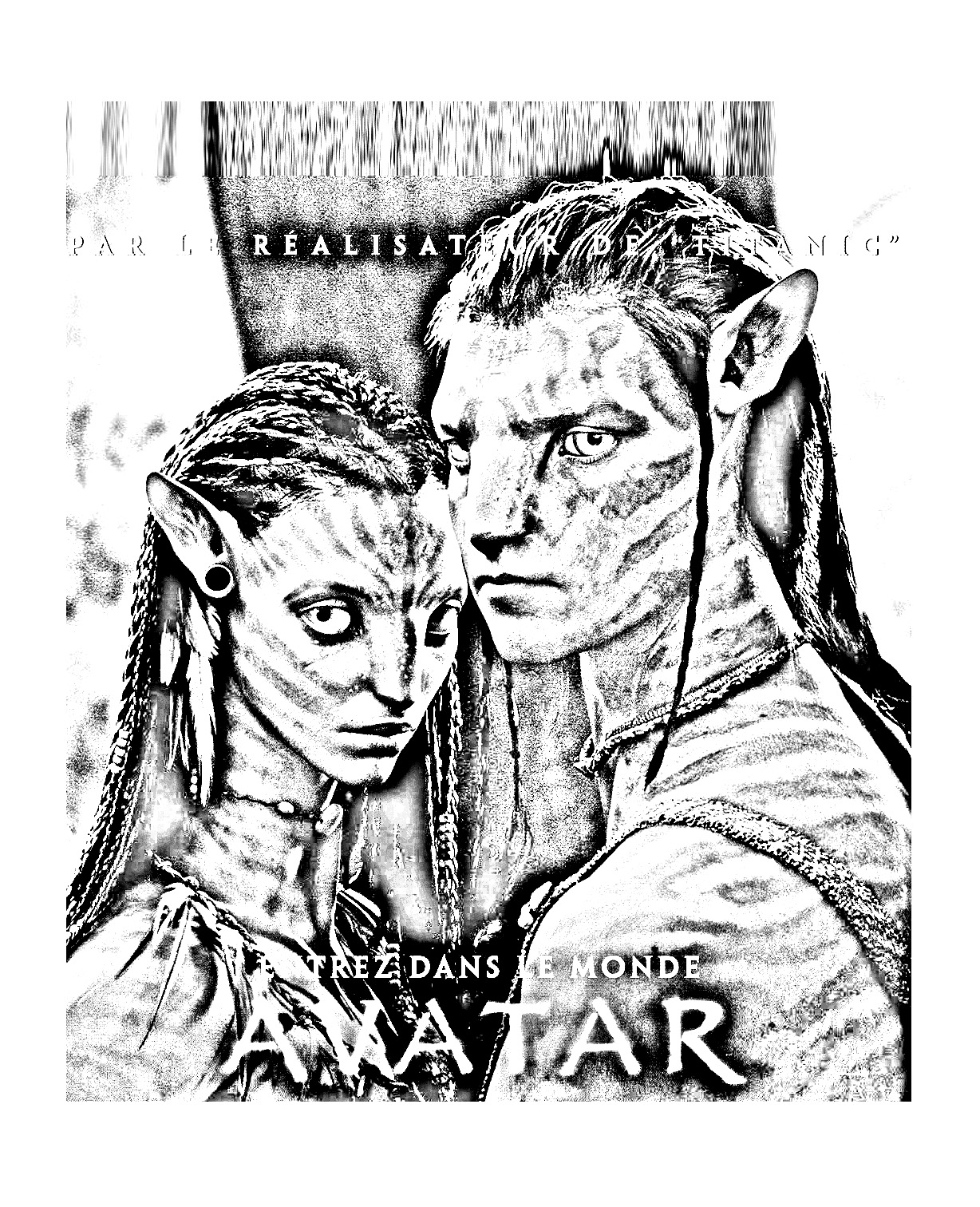 James Cameron's Avatar black & white movie poster
