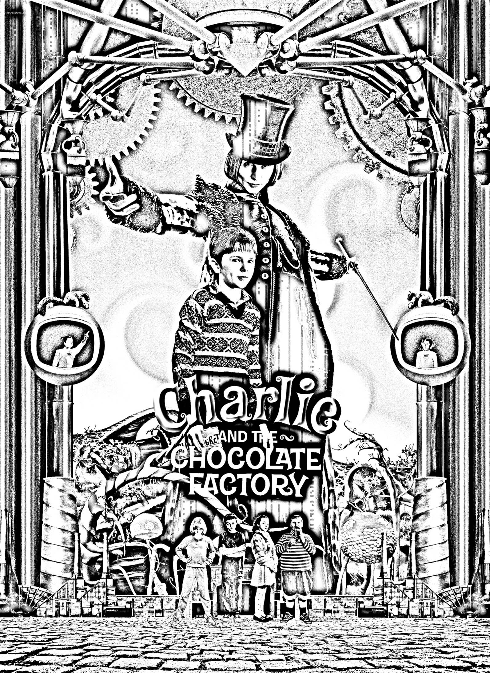 Charlie and the Chocolate Factory Movie Poster in Black & White