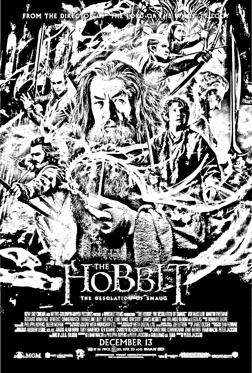 The Hobbit, the Desolation of Smaug poster - Movies Adult Coloring Pages