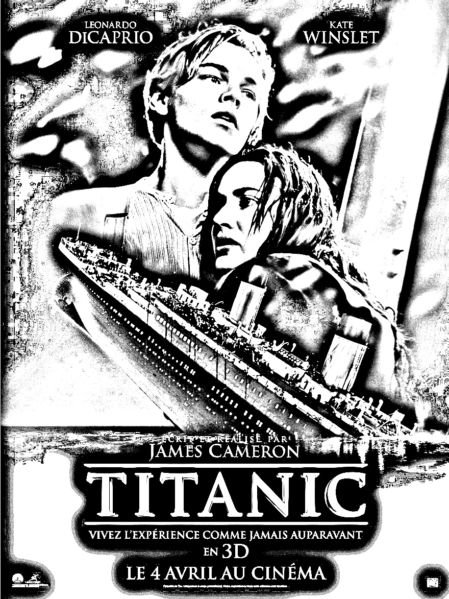 The dramatic and classic movie, Titanic - Movies Adult Coloring Pages