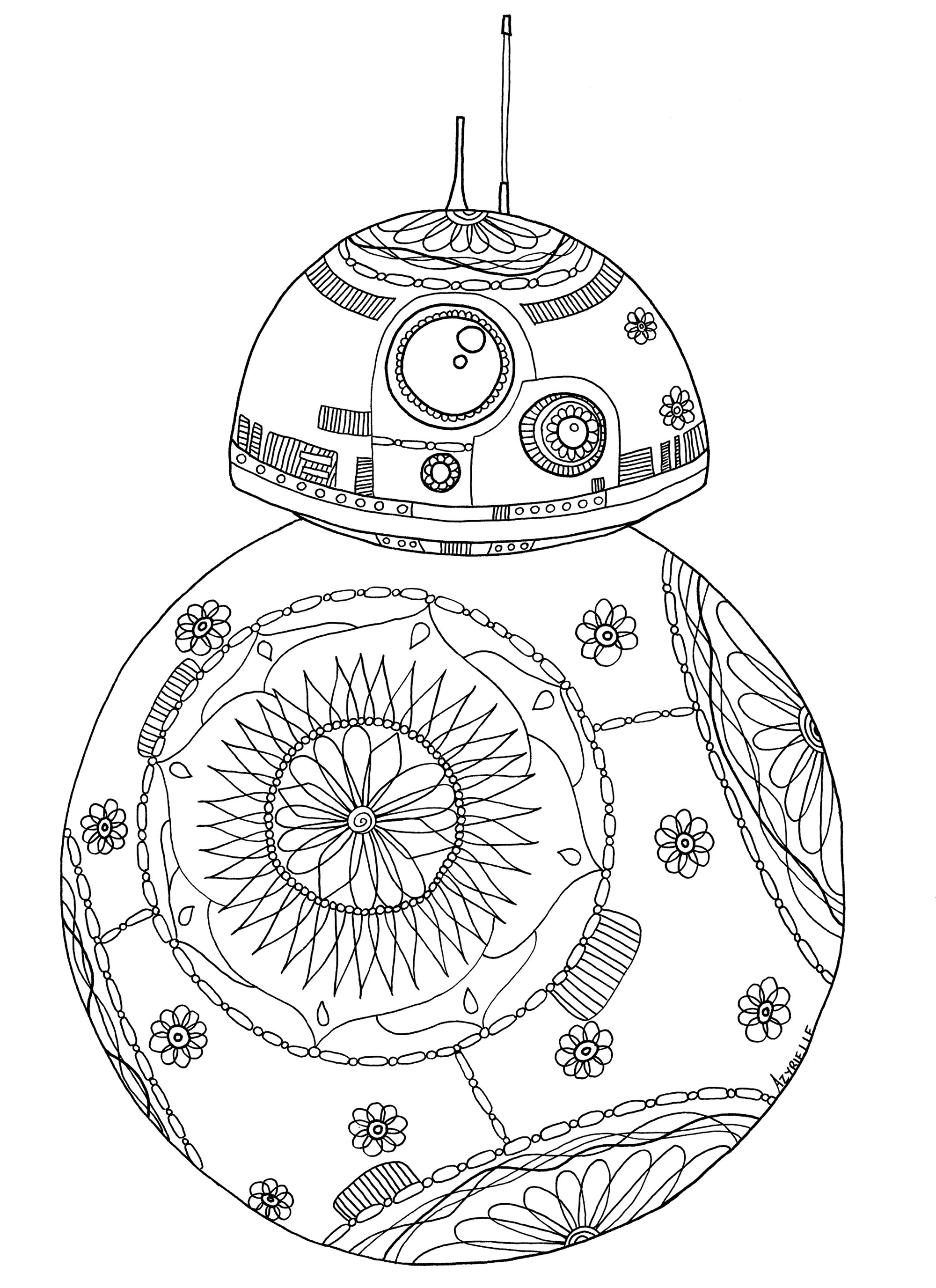 Spheros Star Wars BB 8 Droid With Cute Flowered Patterns Coloring Page Chinese Imperial Robes