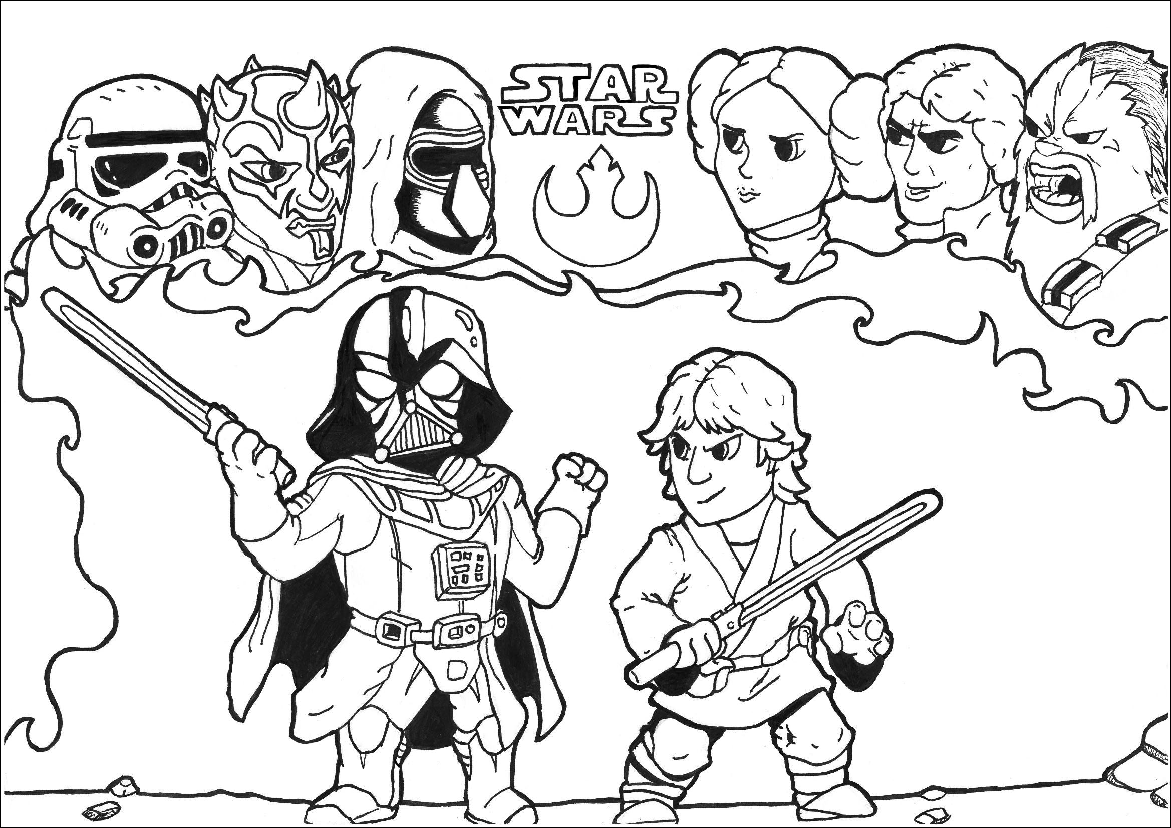 Coloring Page inspired by the cult movie : Star Wars featuring a fight between Luke Skywalker and Darth Vader In the background, the friends of the fighter appears in their thoughts