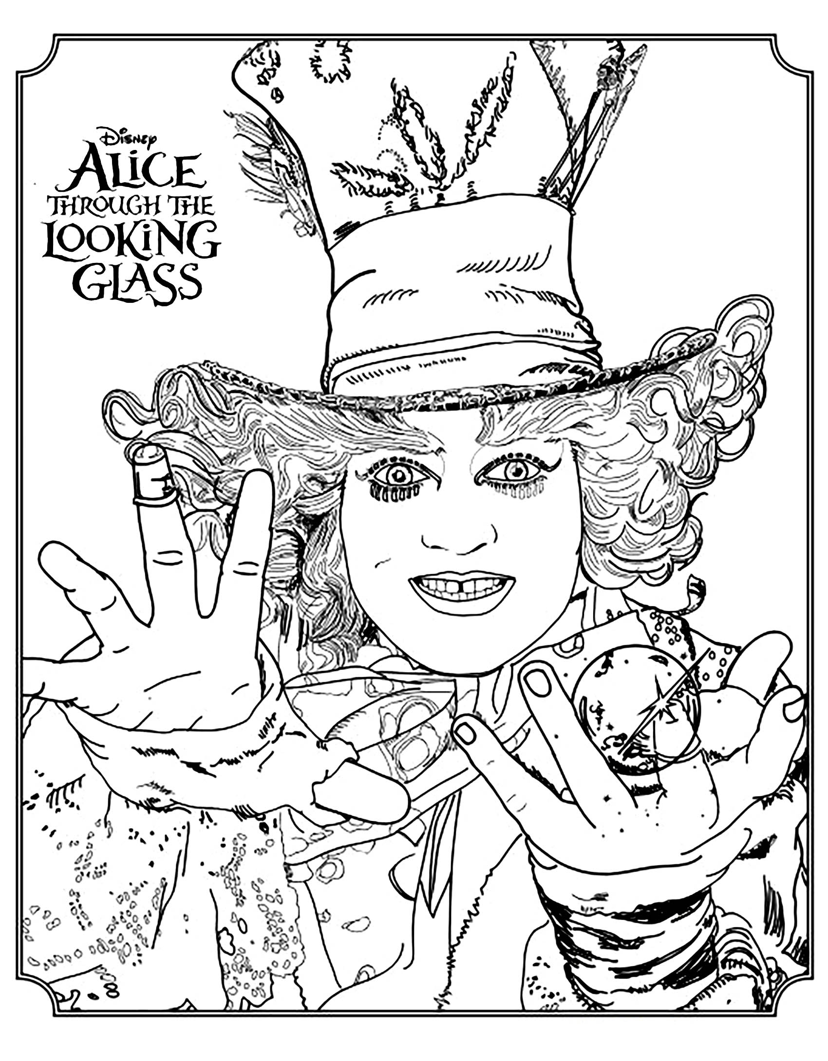 Disney Coloring page for the movie 'Alice Through the Looking Glass' : the Mad Hatter