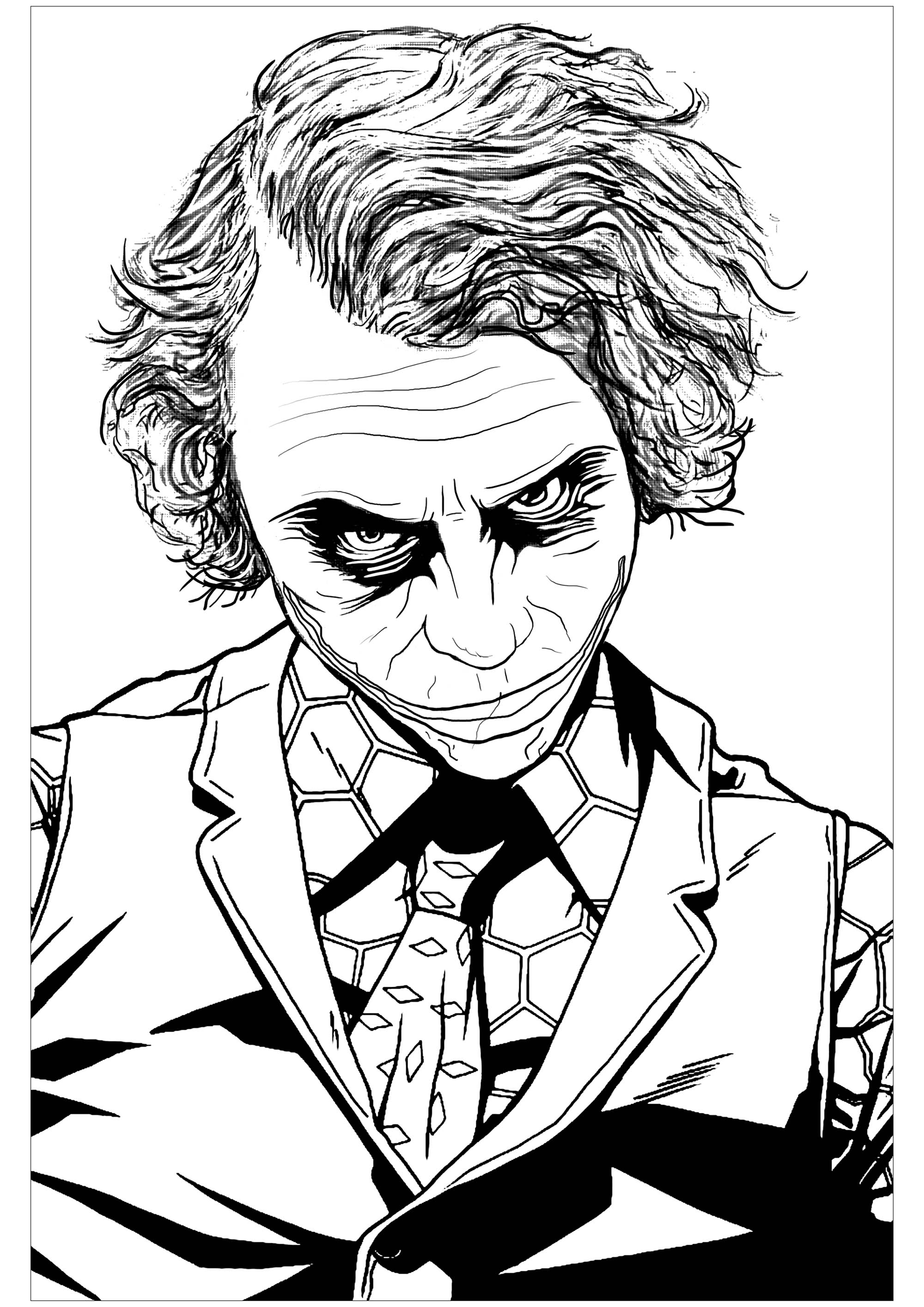 Coloring page inspired by the infamous Batman villain The Joker in 'The Dark Knight' (interpreted by Heath Ledger)