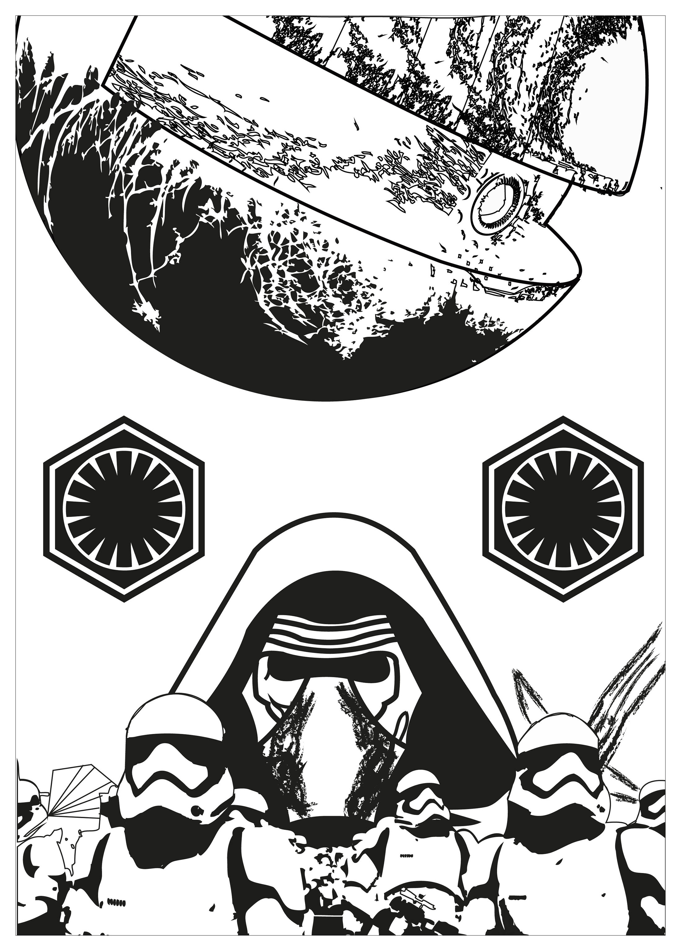 Star wars fan art coloring page, with Kylo Ren, Stormtroopers and the Death star