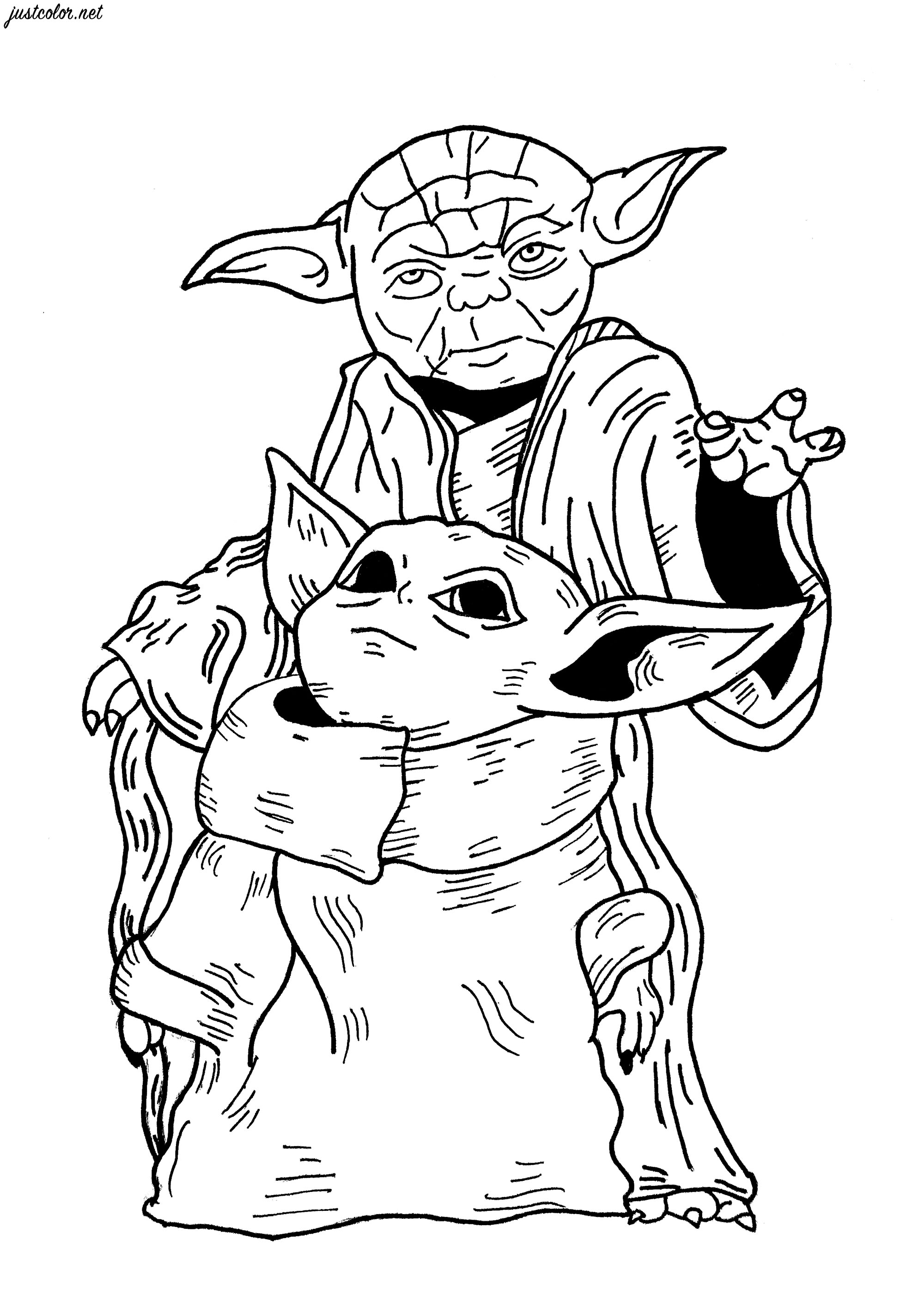 An original Star Wars fan-art coloring page with Baby Yoda (from The Mandalorian - Star Wars / Disney +) and the famous Yoda