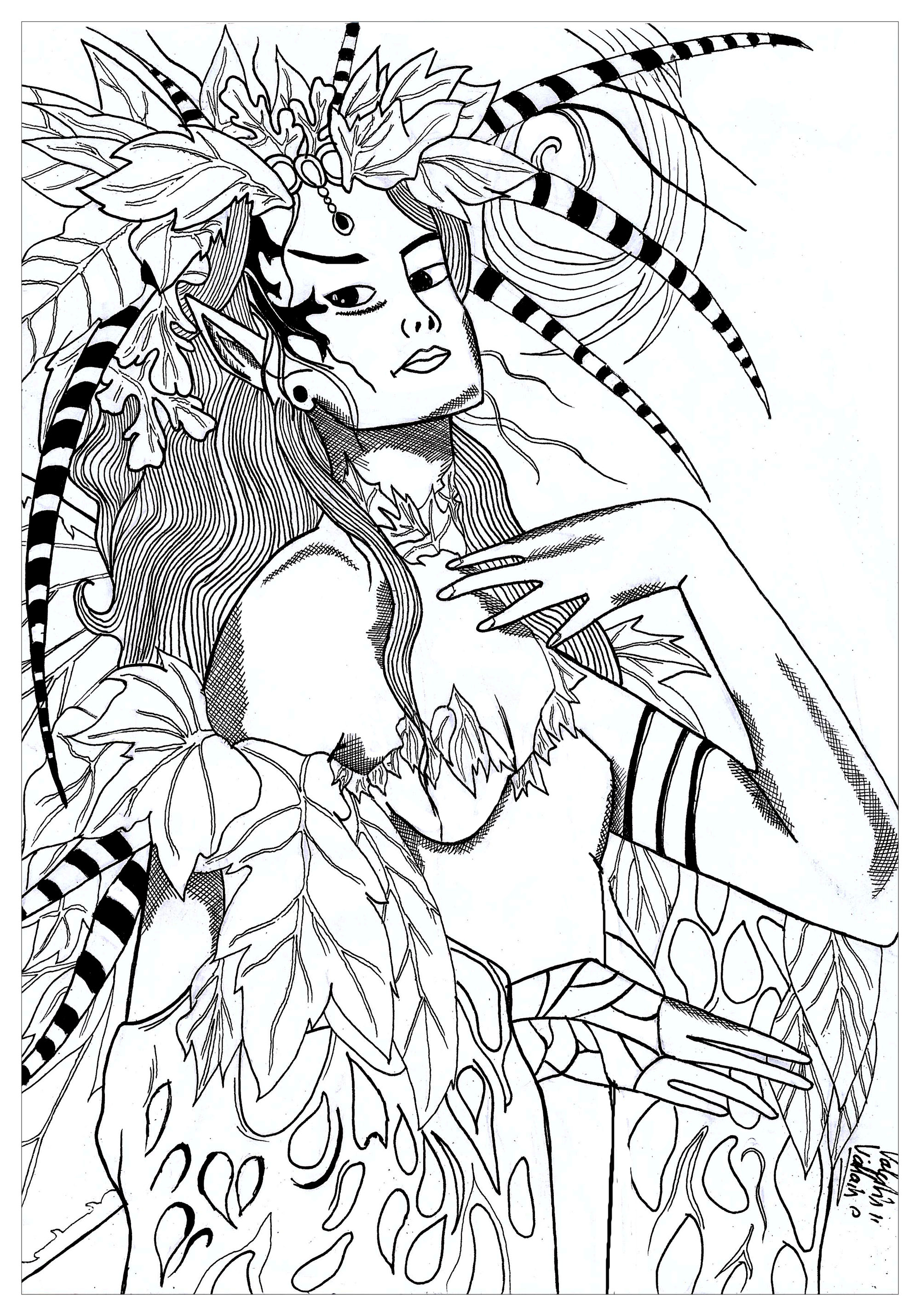 Coloring page of Mother Nature wearing her headdress
