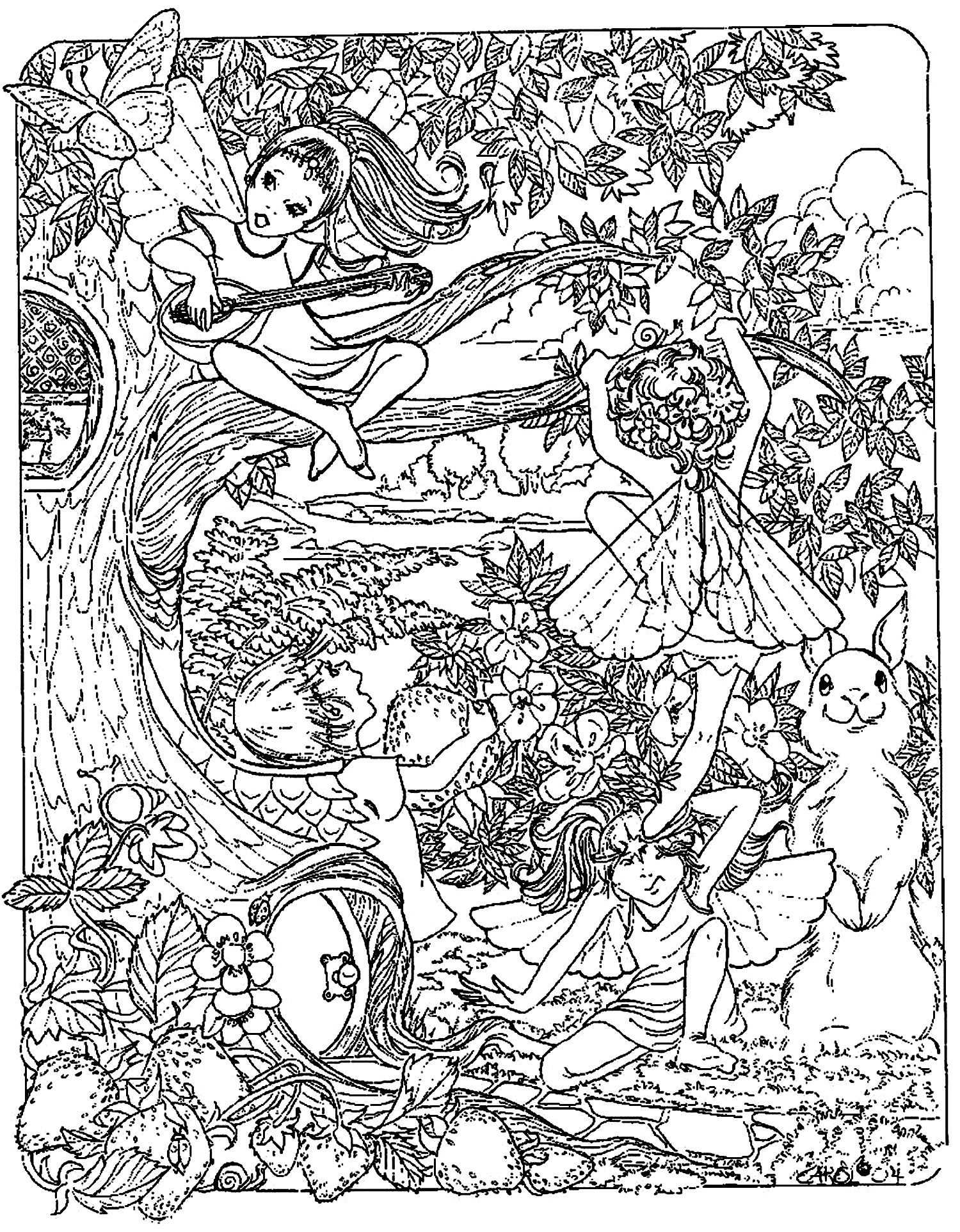 mythical coloring pages for adults fantasy child elves myths legends adult coloring pages