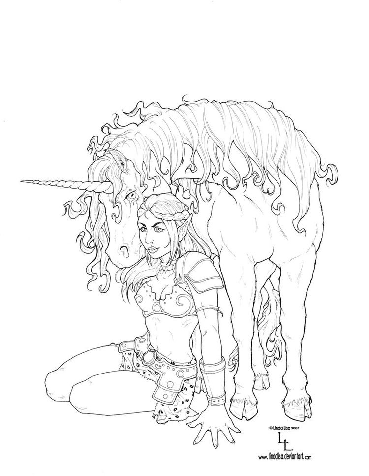 unicorn woman coloring page from the gallery myths legends - Fantasy Coloring Pages Adults