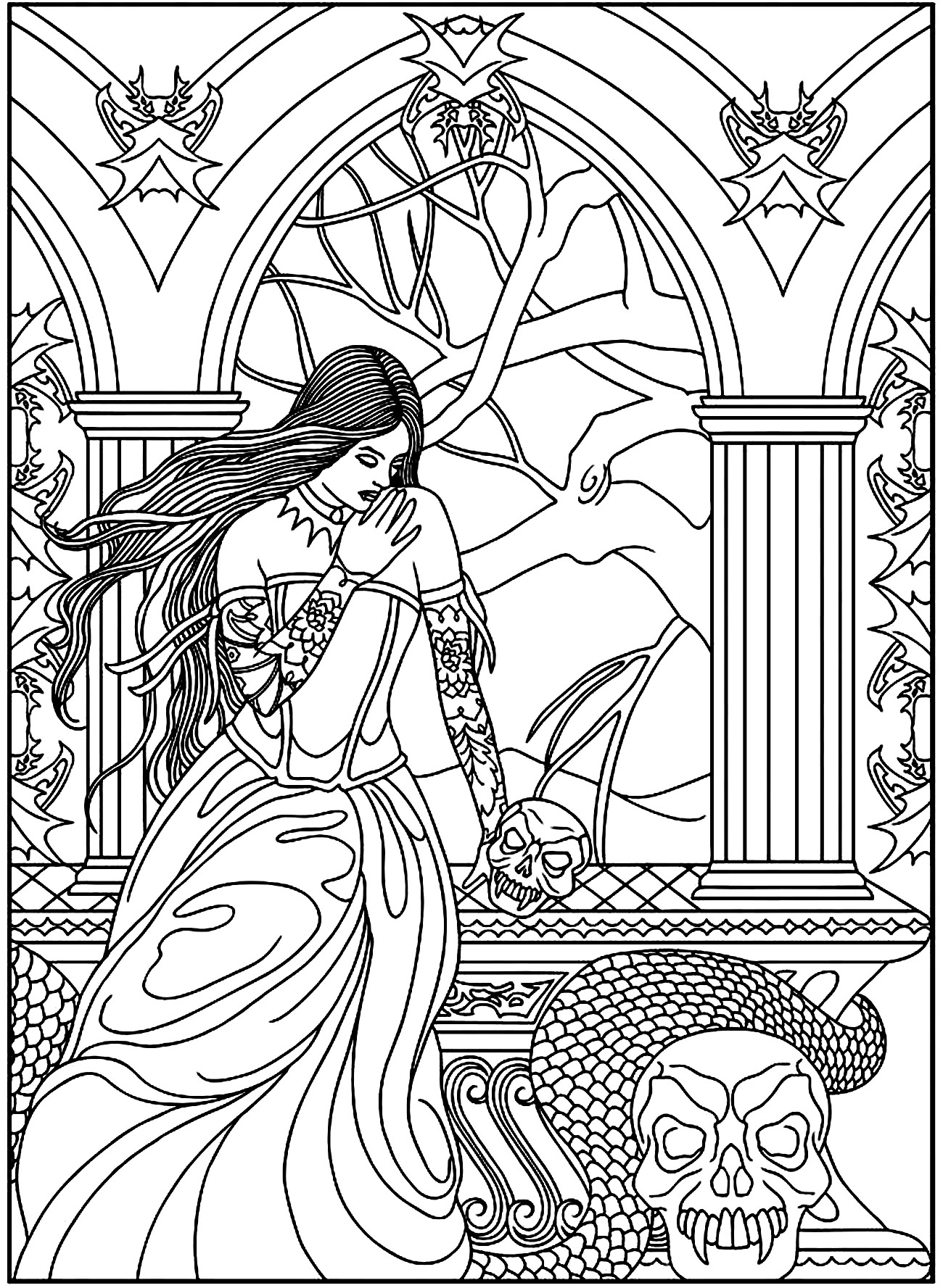 Fantasy woman skulls snake Myths legends Coloring pages for adults