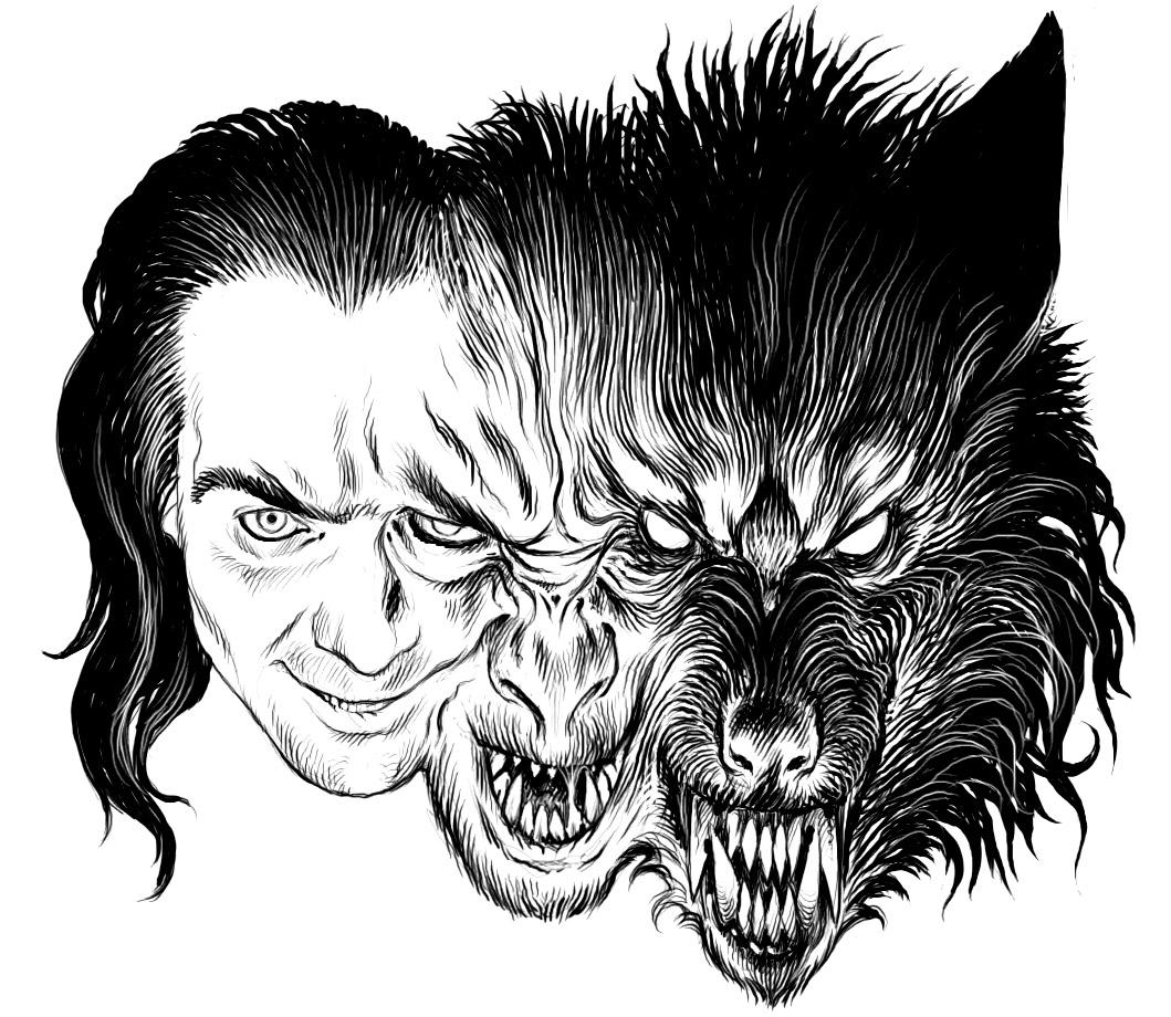Transformation loup garou - Myths & legends Adult Coloring Pages